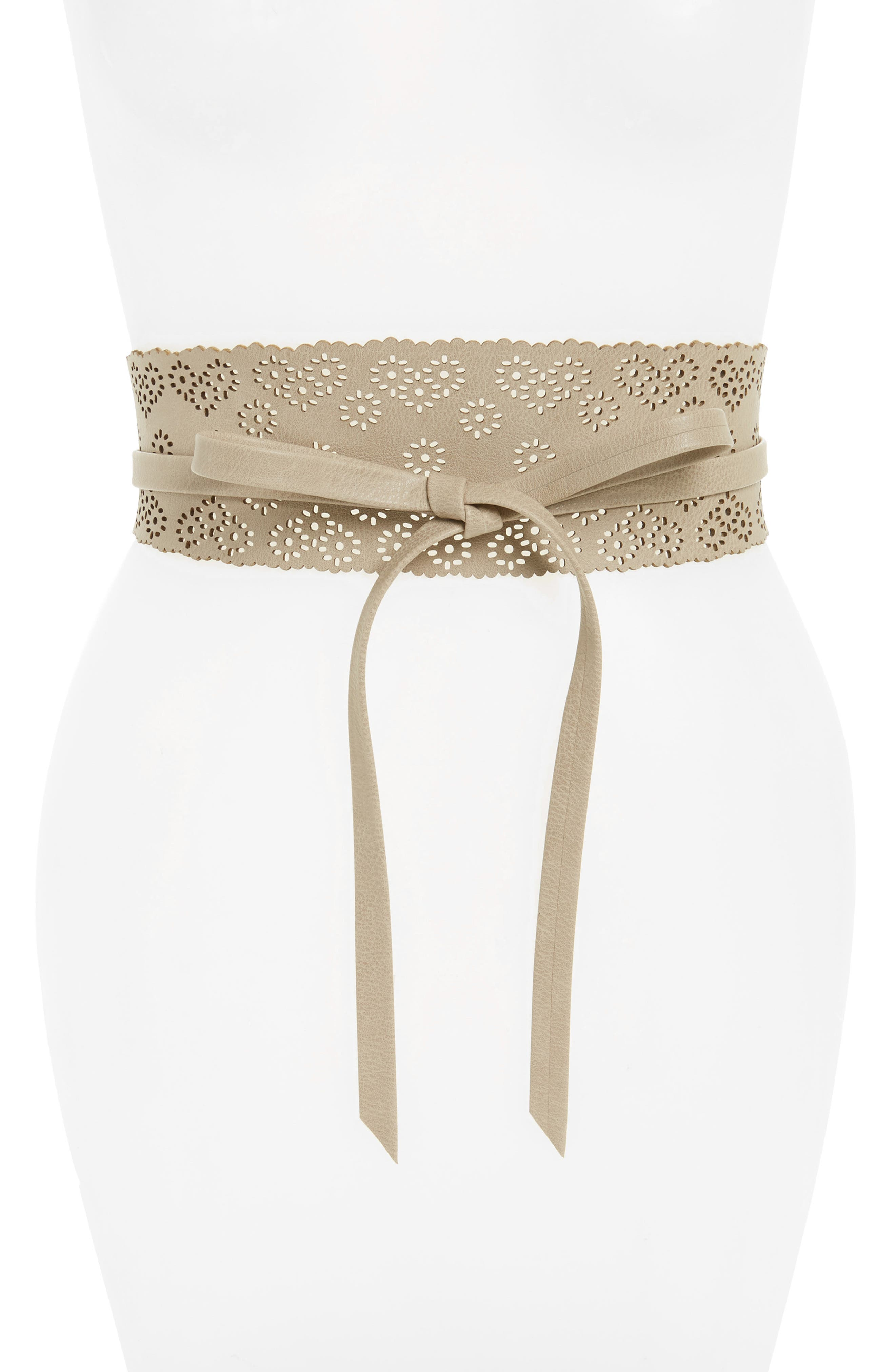 Perforated Floral Faux Leather Tie Belt,                             Main thumbnail 3, color,