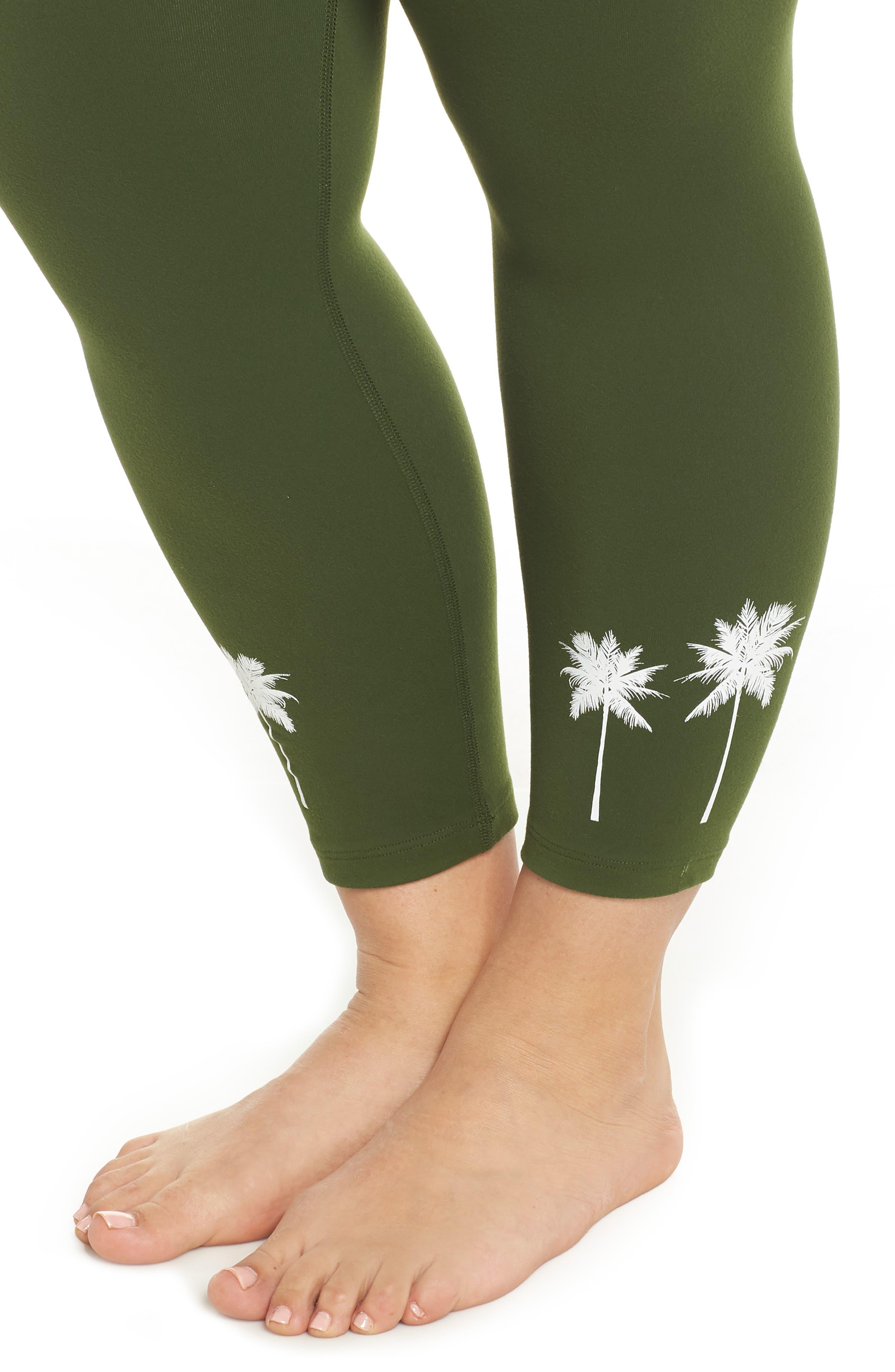 Palm Tree High Waist Leggings,                             Alternate thumbnail 4, color,                             309