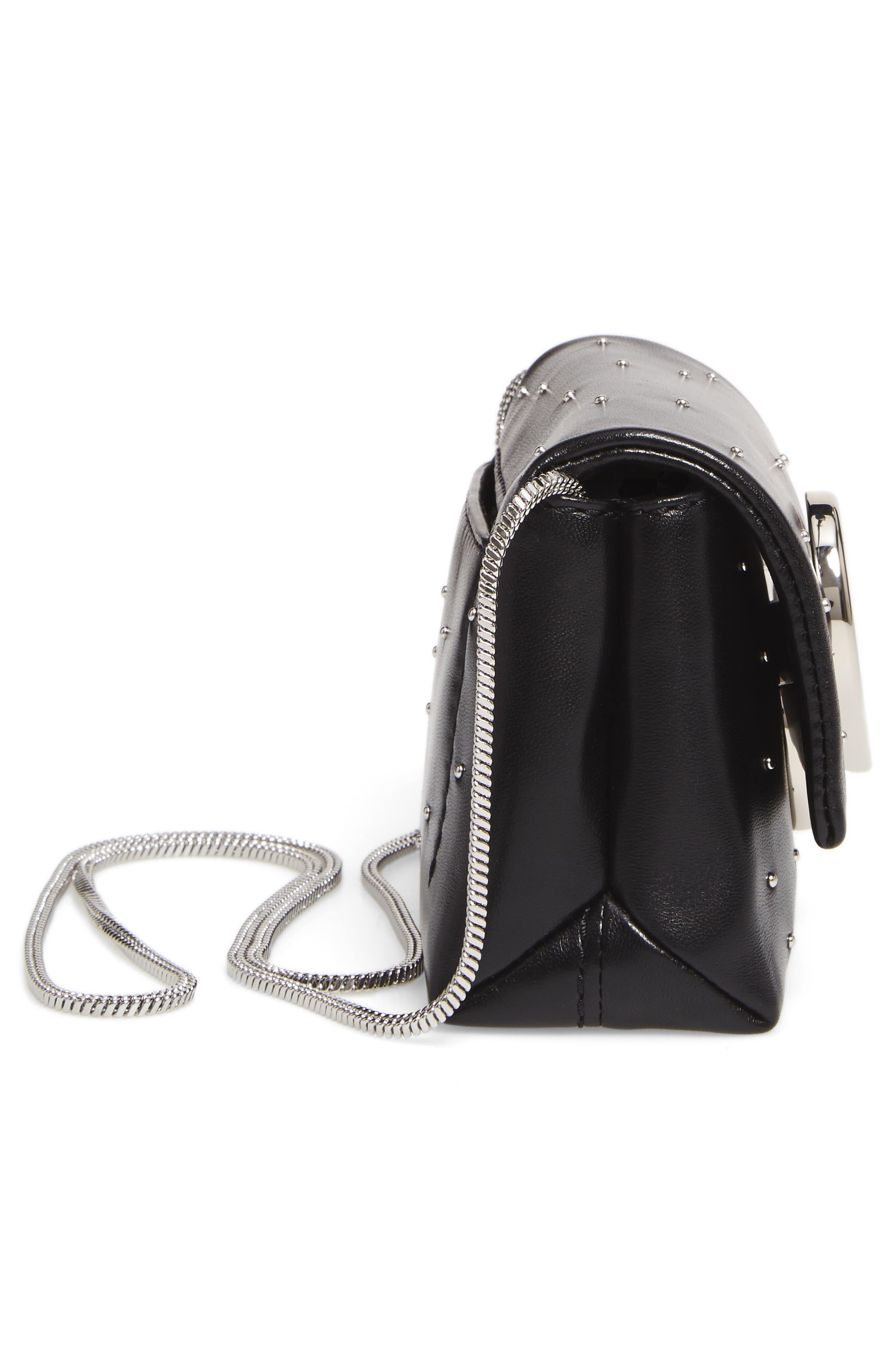 Micro Alix Leather Crossbody Bag,                             Alternate thumbnail 5, color,                             001