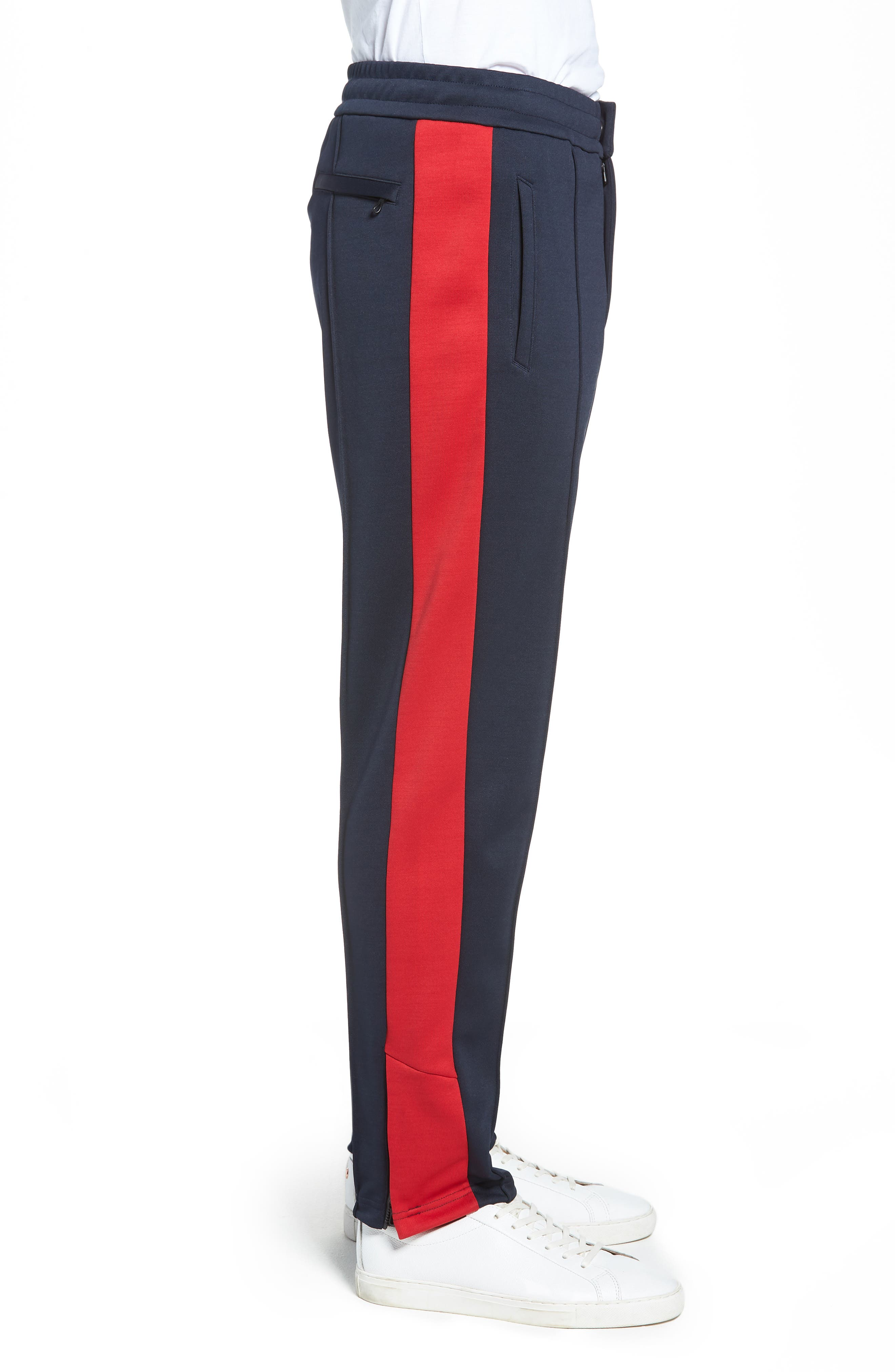 Club Slim Fit Track Pants,                             Alternate thumbnail 3, color,                             NAVY/ RED