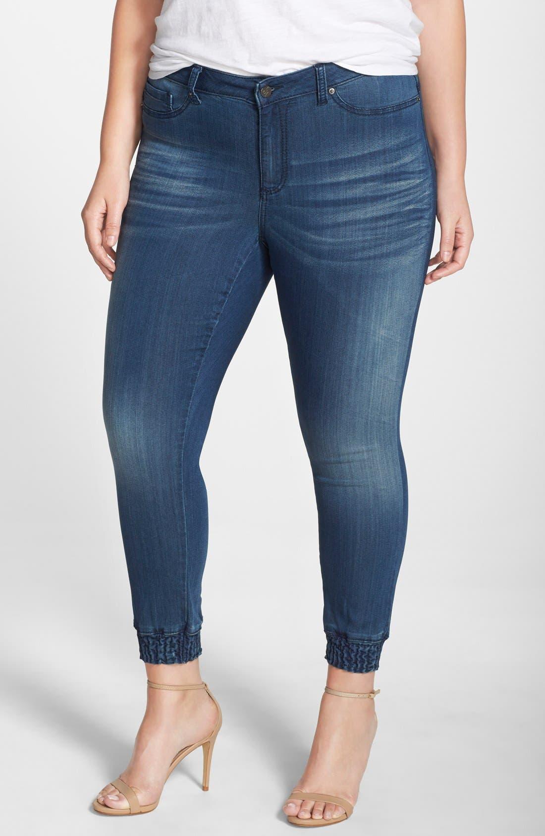 'Suzzie' Stretch Knit Denim Crop Jeans,                             Main thumbnail 1, color,                             DARK BLUE