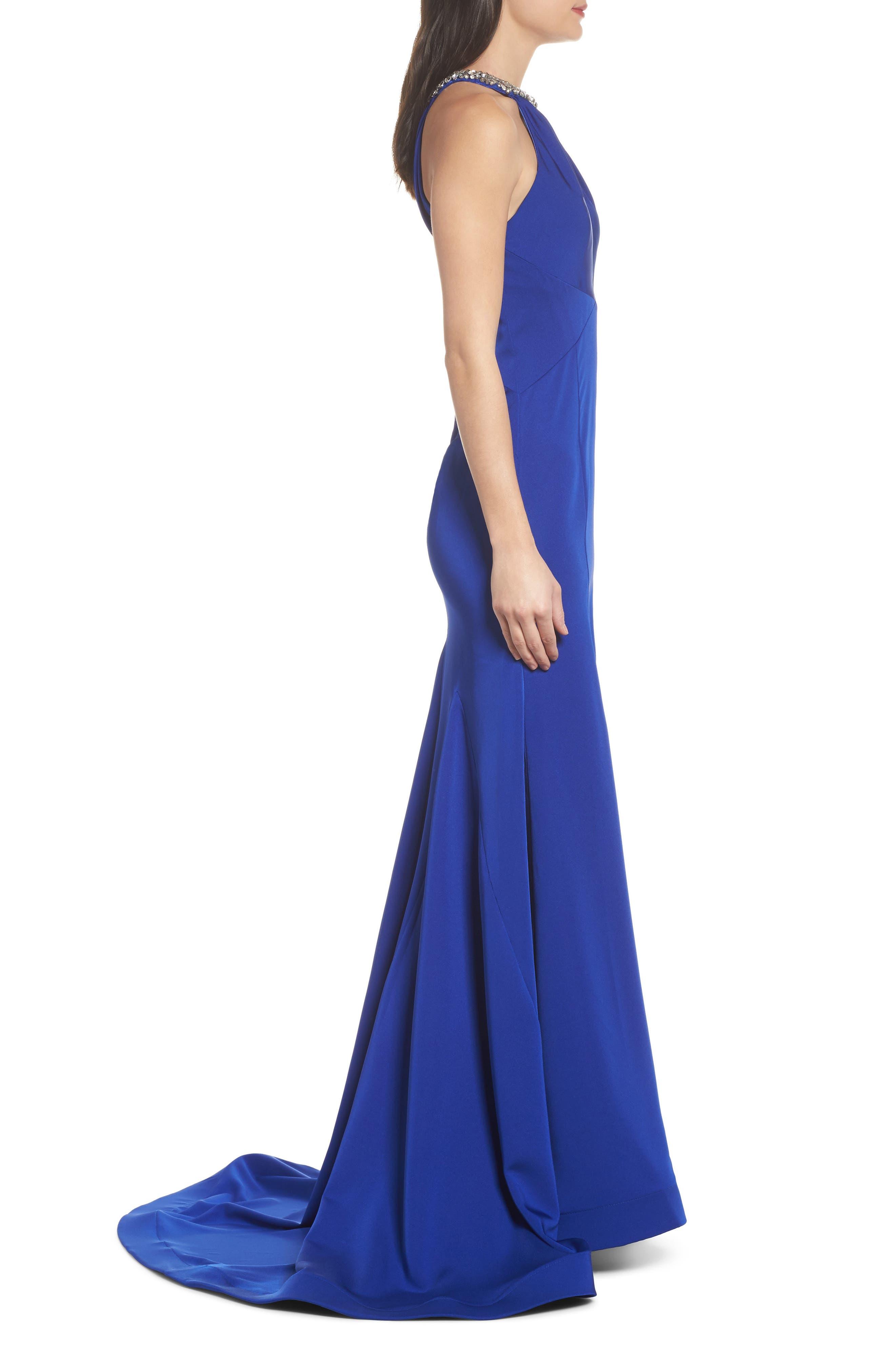 Jewel Neck Mermaid Gown,                             Alternate thumbnail 3, color,                             COBALT