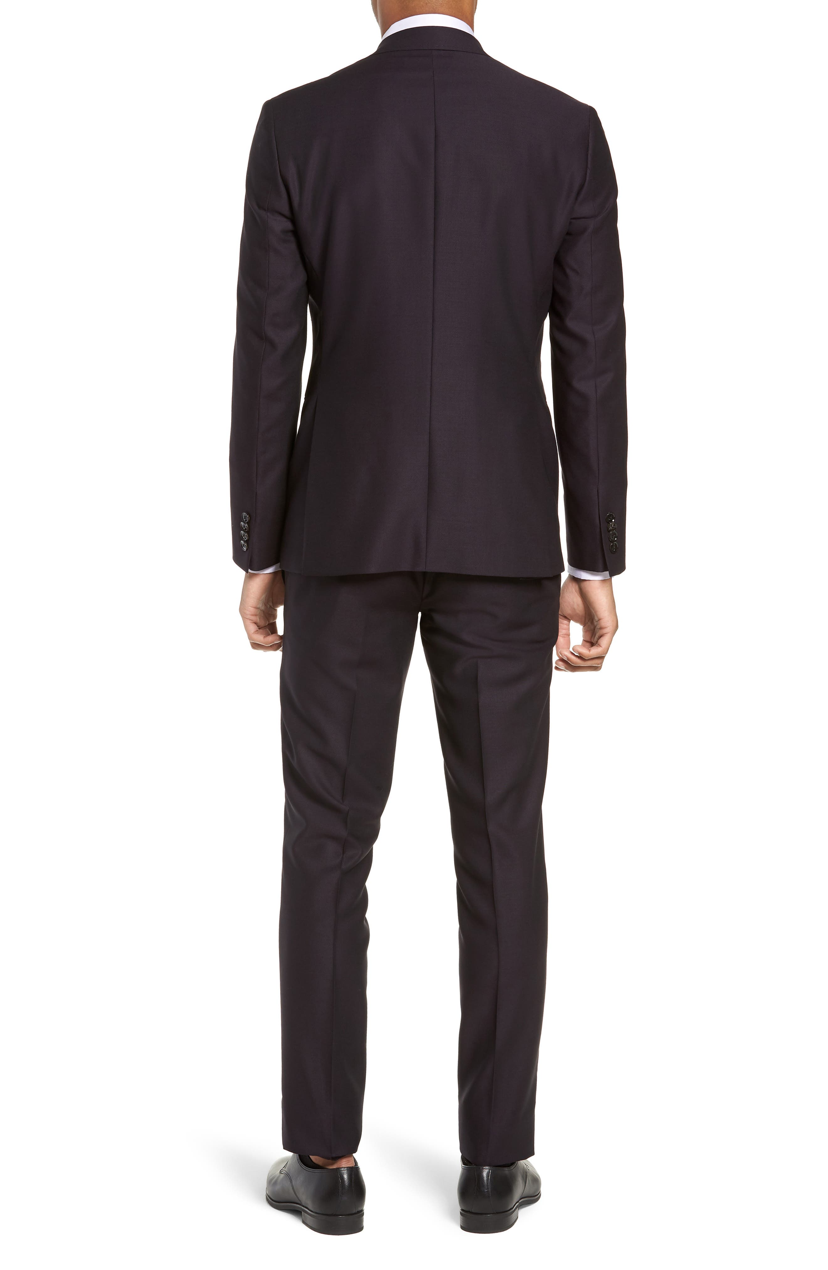 Roger Extra Trim Fit Solid Wool Suit,                             Alternate thumbnail 2, color,                             DEEP EGGPLANT