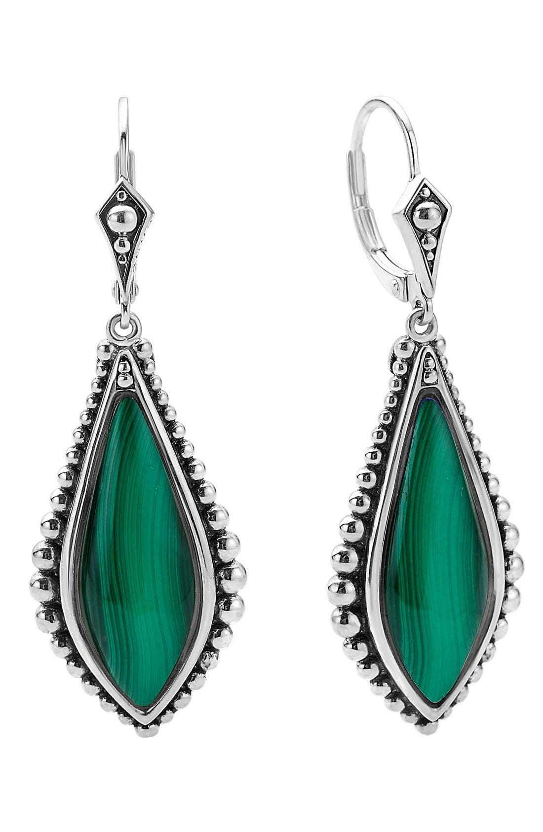 LAGOS,                             'Contessa' Semiprecious Stone Drop Earrings,                             Main thumbnail 1, color,                             MALACHITE