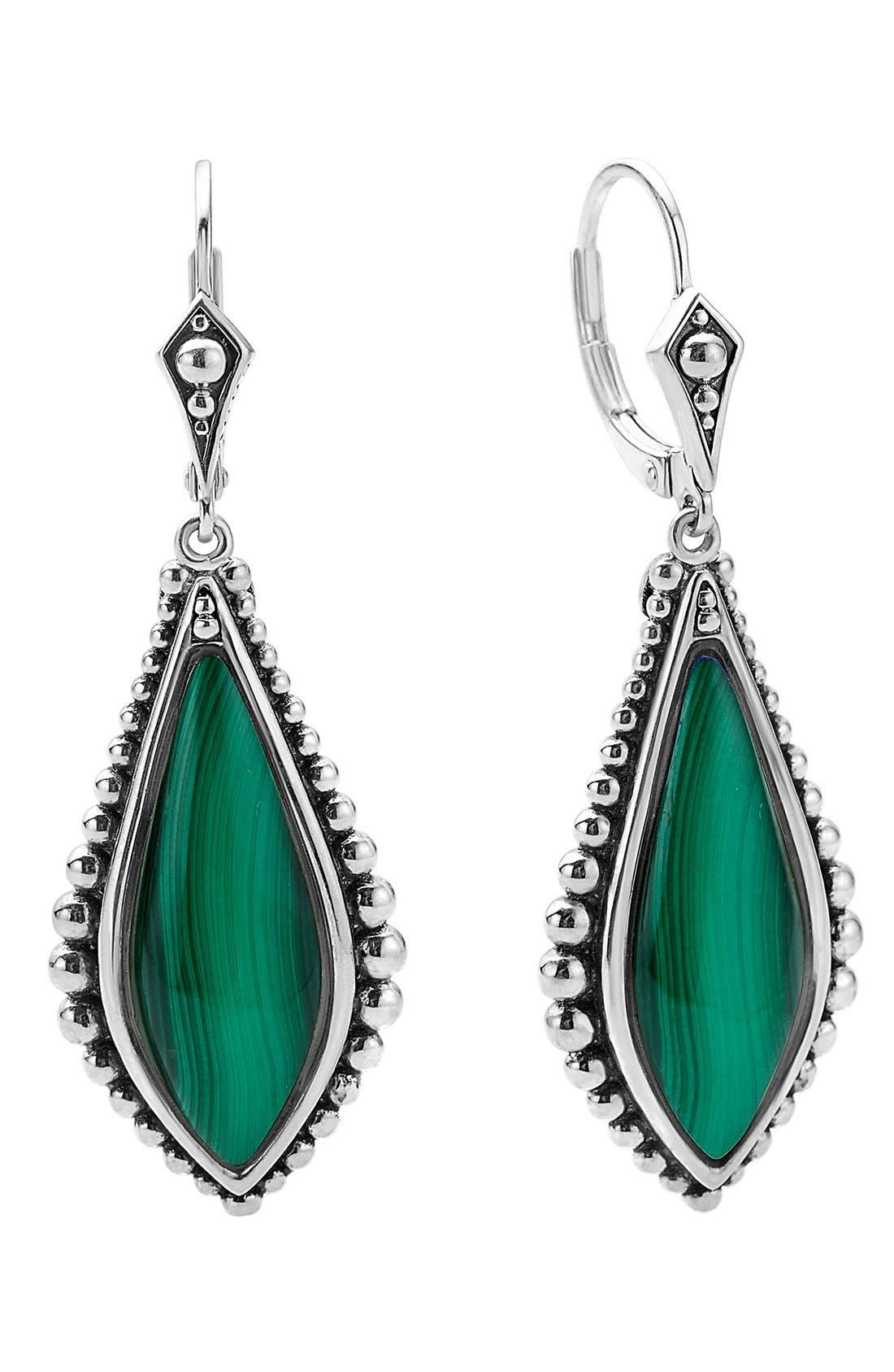 LAGOS 'Contessa' Semiprecious Stone Drop Earrings, Main, color, MALACHITE