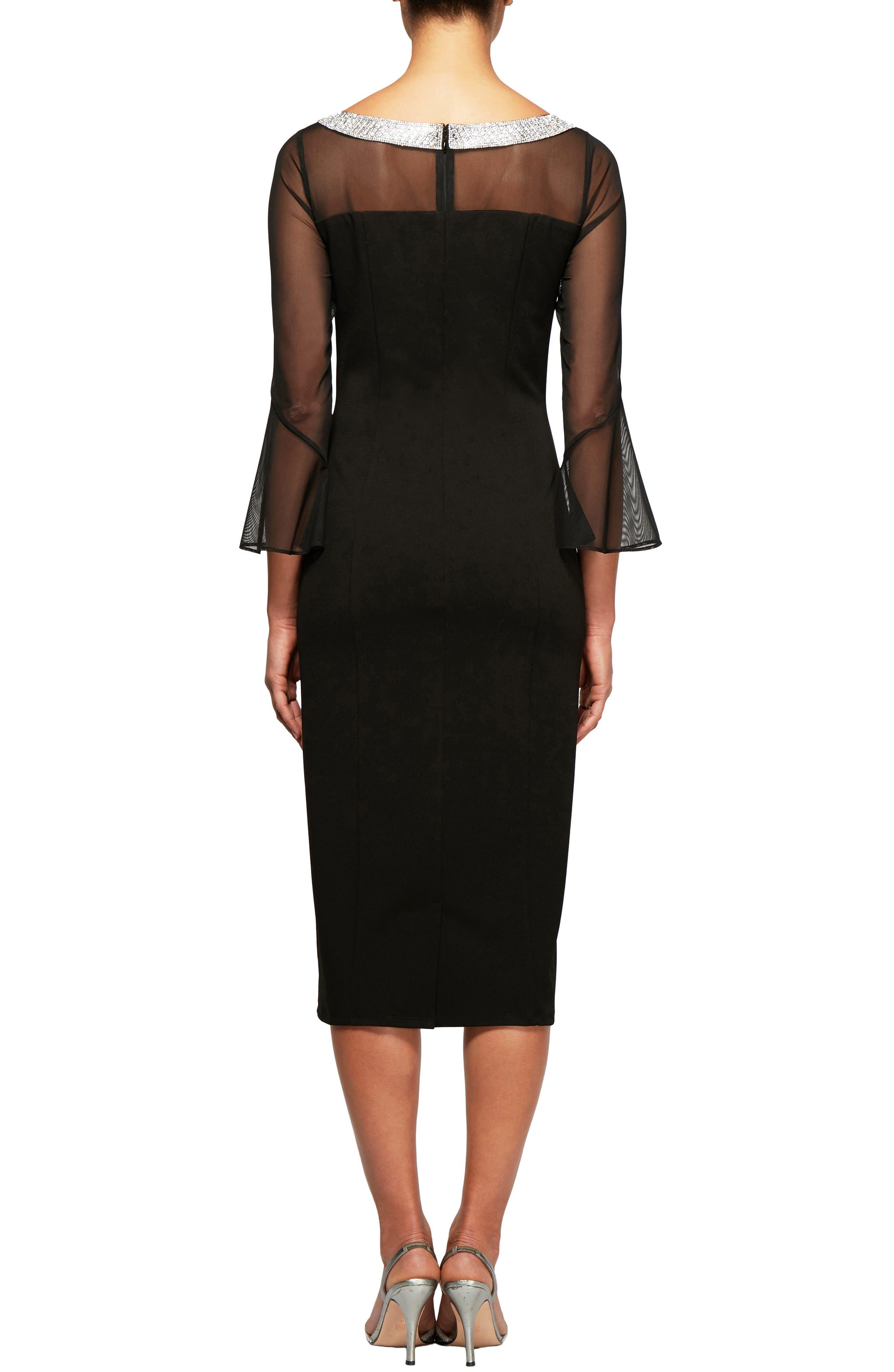 Embellished Shift Dress,                             Alternate thumbnail 2, color,                             BLACK