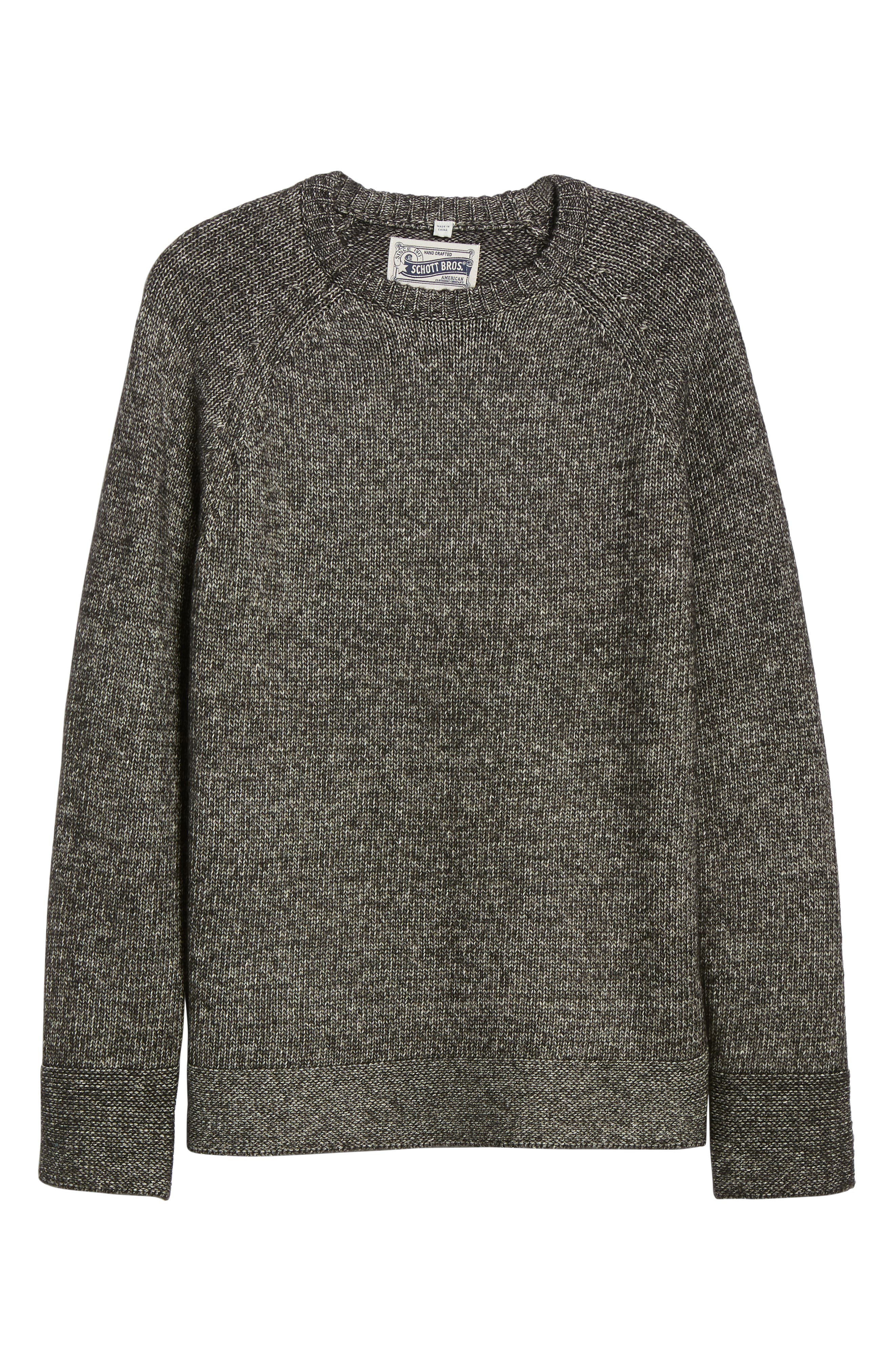Multi Yarn Crewneck Raglan Sweater,                             Alternate thumbnail 6, color,                             BLACK