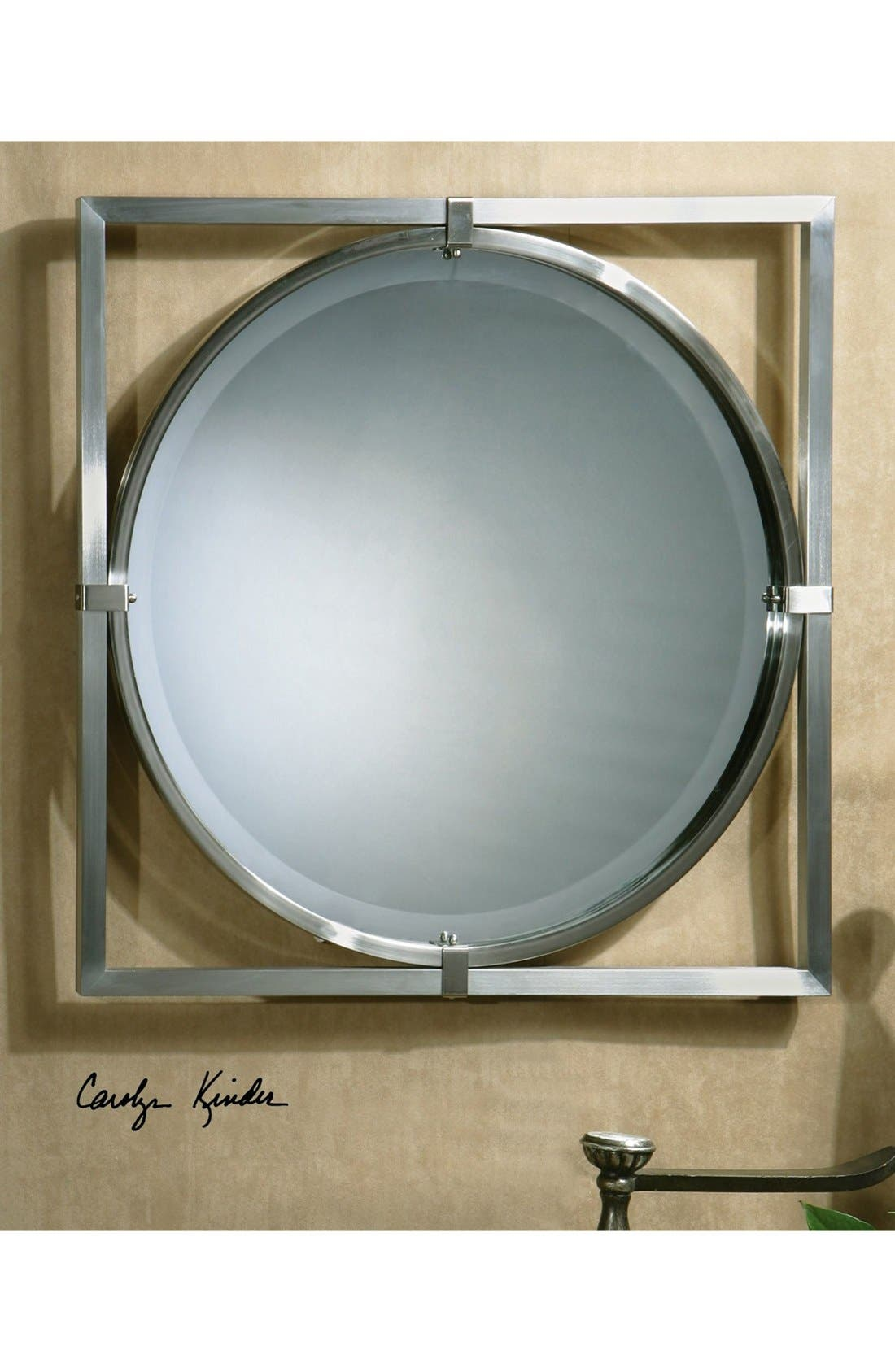 'Kagami' Brushed Nickel Mirror,                             Alternate thumbnail 3, color,
