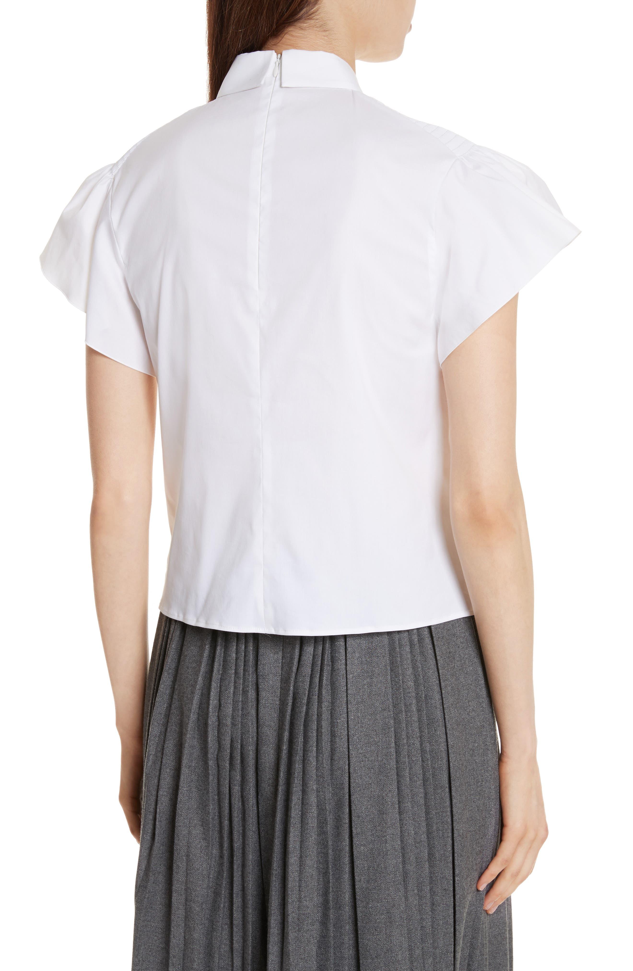 Pierced Cotton Poplin Shirt,                             Alternate thumbnail 2, color,                             100