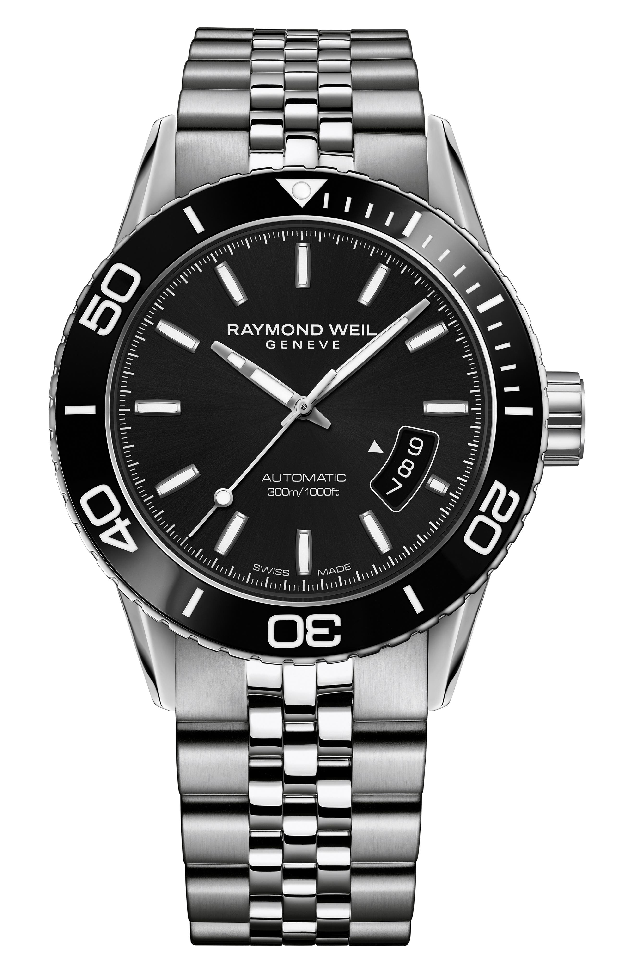 Freelancer Diver Automatic Bracelet Strap Watch, 43mm,                         Main,                         color, SILVER/ BLACK