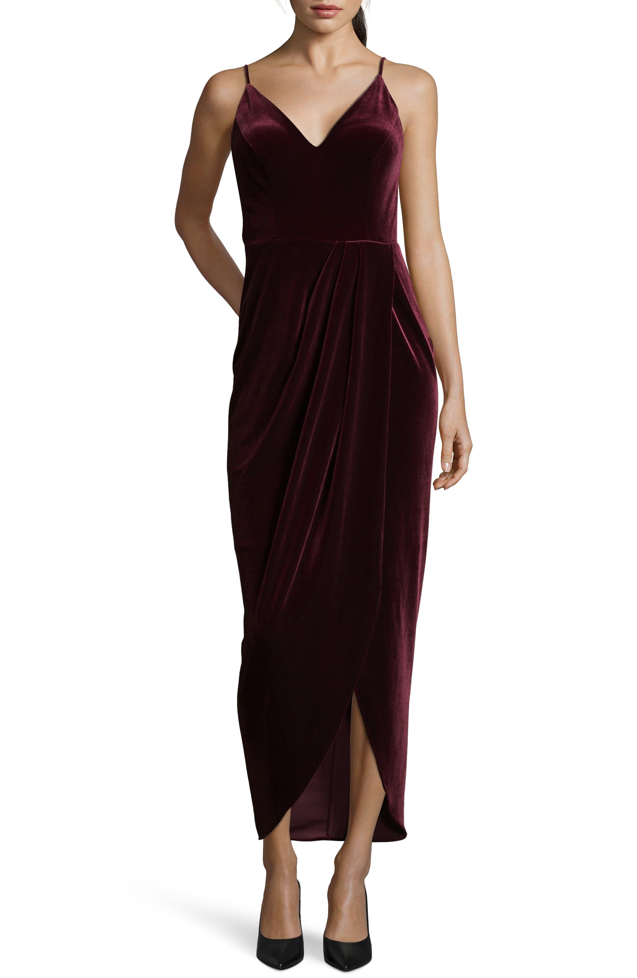 Velvet Tulip Hem Gown,                             Main thumbnail 1, color,                             BURGUNDY
