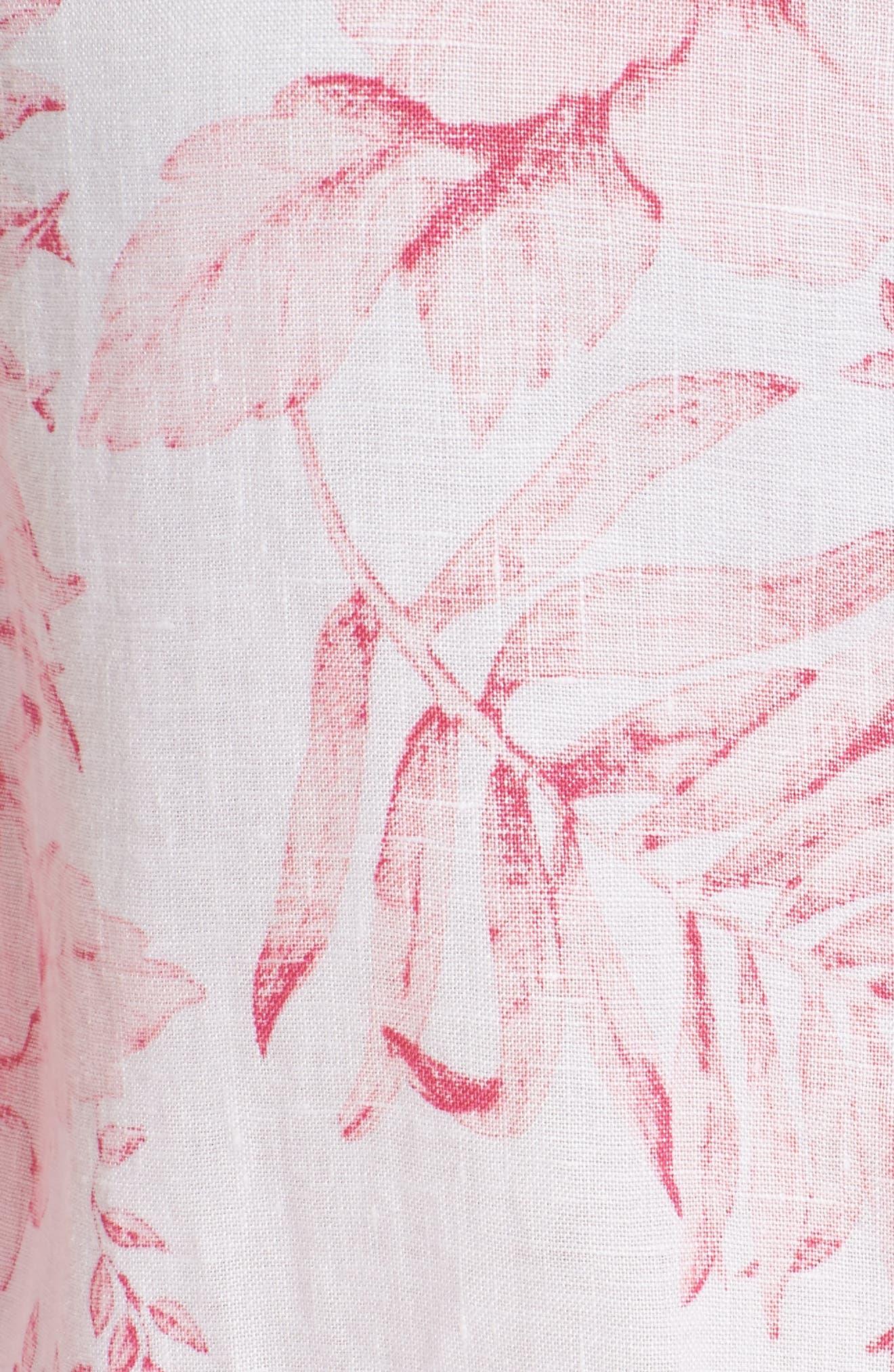 Tulum Tropical Linen Shirt,                             Alternate thumbnail 5, color,                             PINK LACE