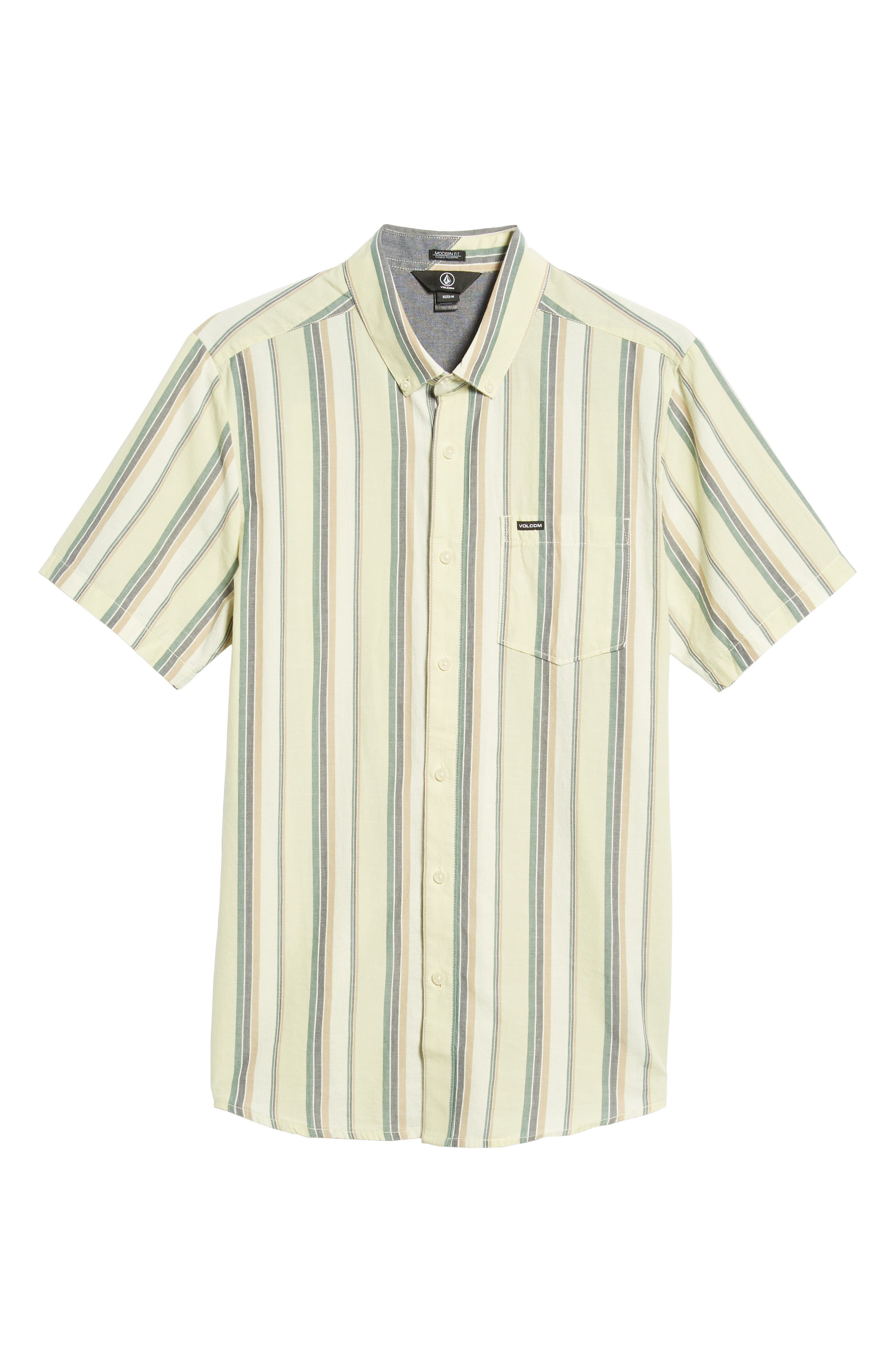Multitone Stripe Woven Shirt,                             Alternate thumbnail 5, color,                             SAGE