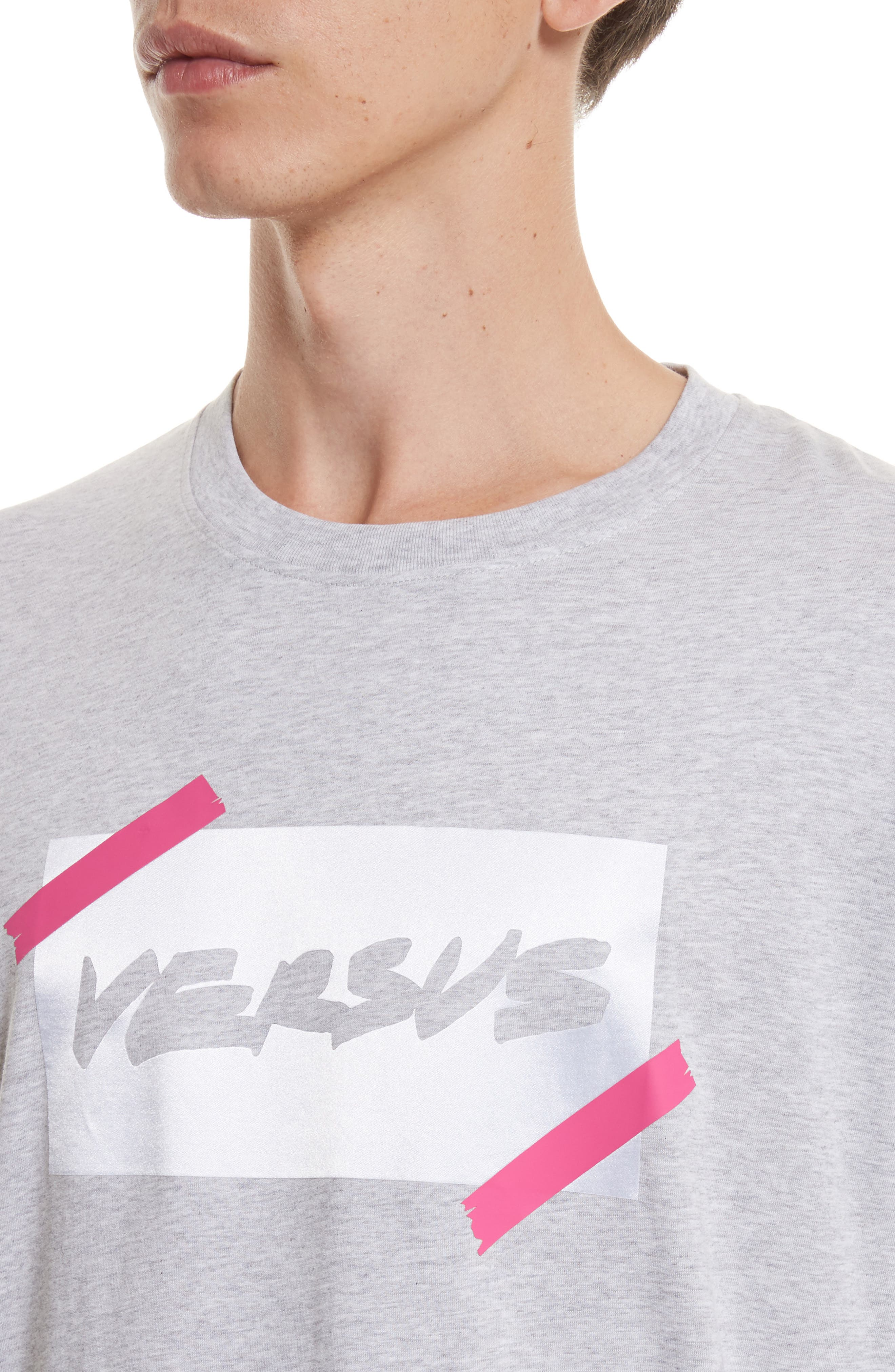 VERSUS by Versace Tape Logo Graphic T-Shirt,                             Alternate thumbnail 4, color,                             052