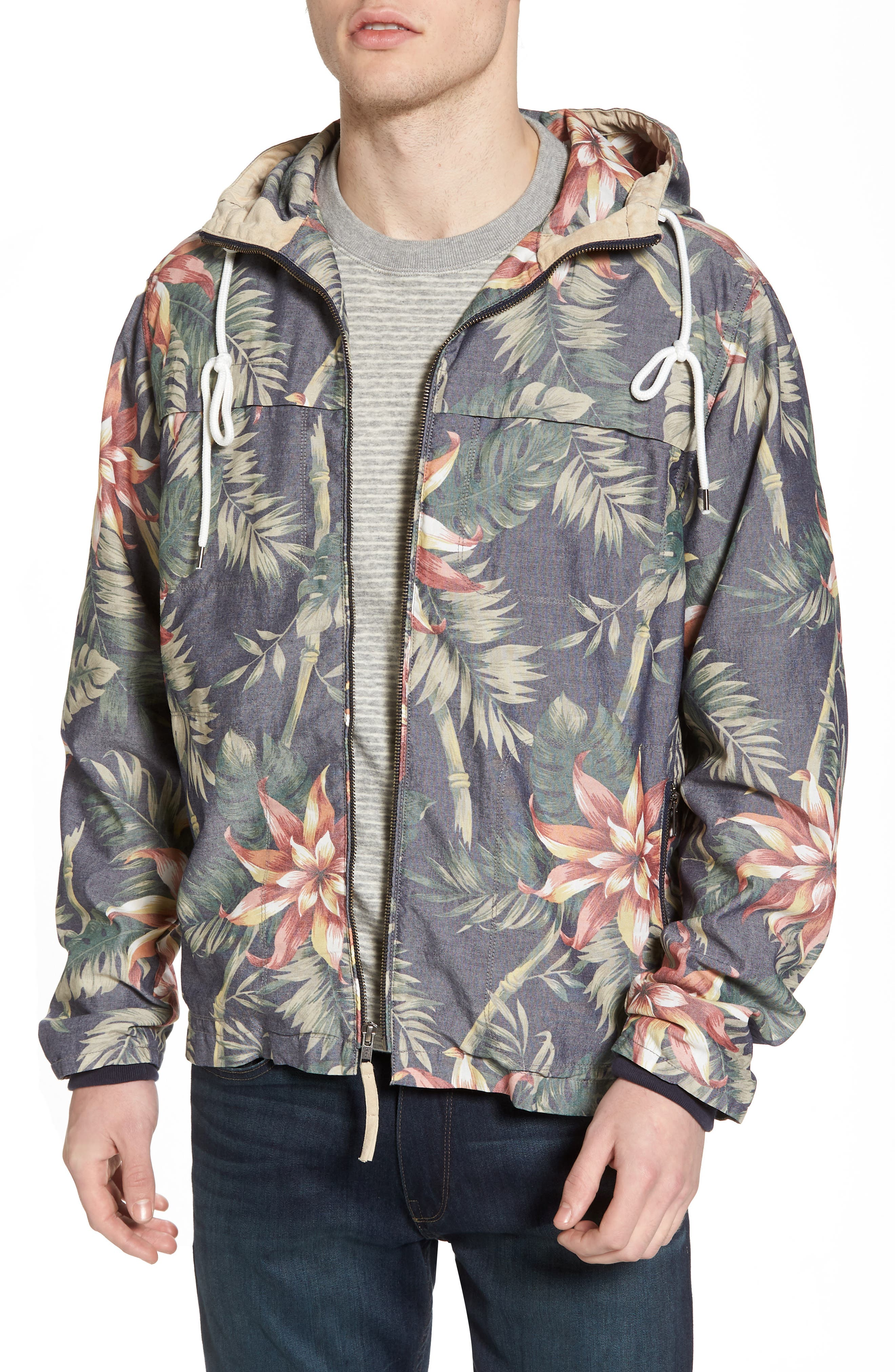 Print Hooded Beach Jacket,                         Main,                         color, 401