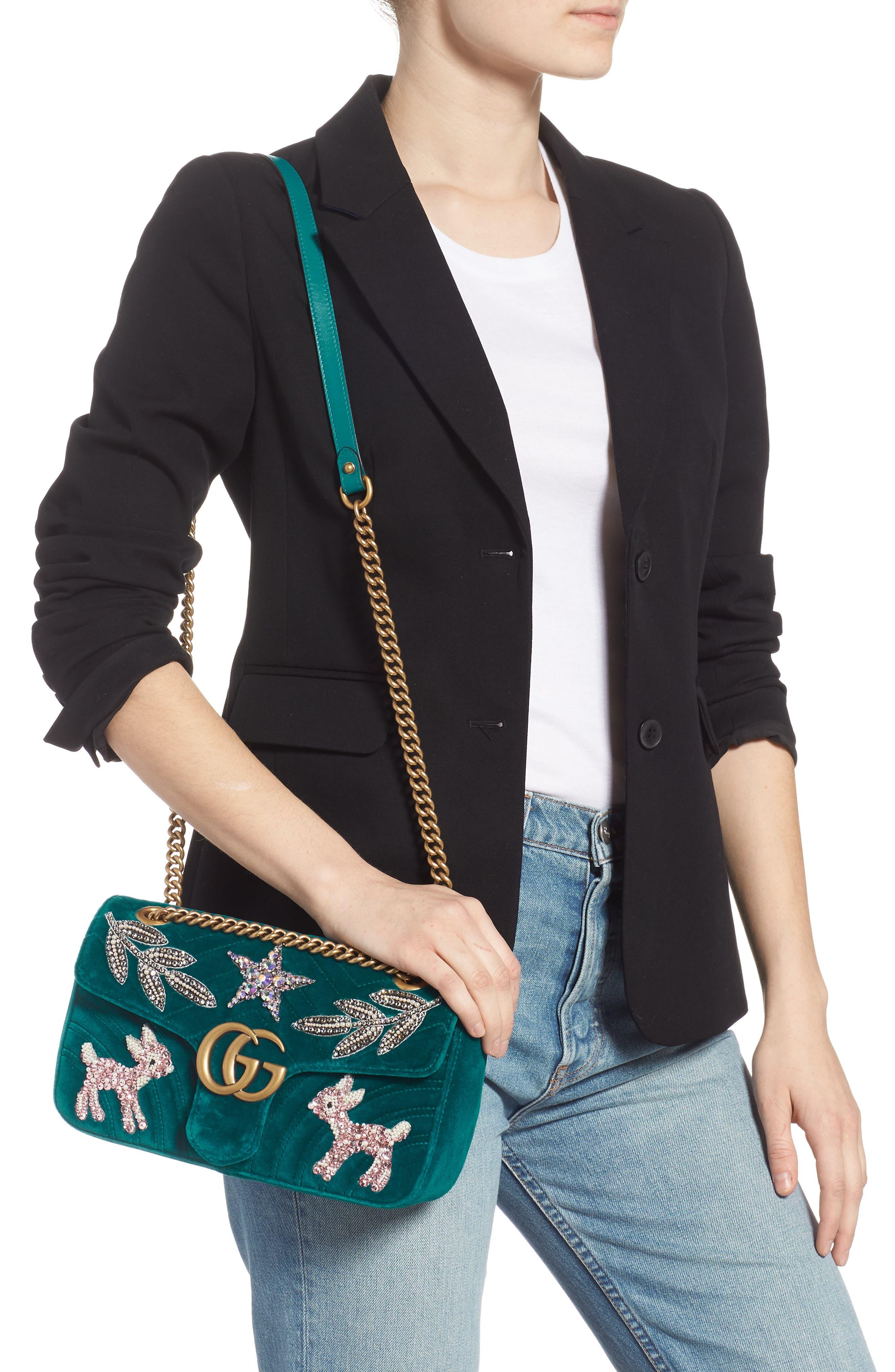 GG Marmont 2.0 Matelassé Velvet Shoulder Bag,                             Alternate thumbnail 2, color,                             440