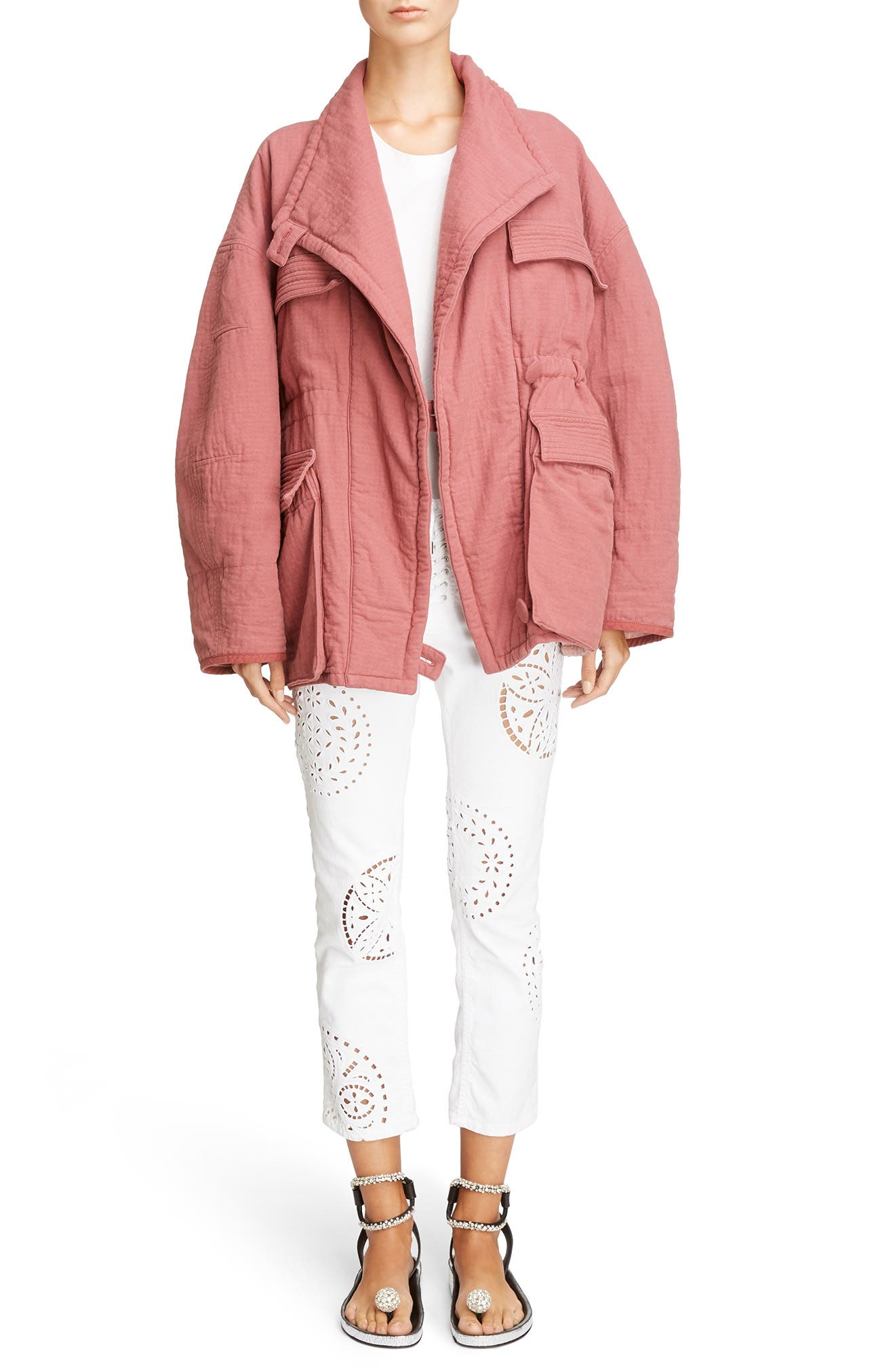 Oversize Textured Cotton Jacket,                             Alternate thumbnail 6, color,                             600