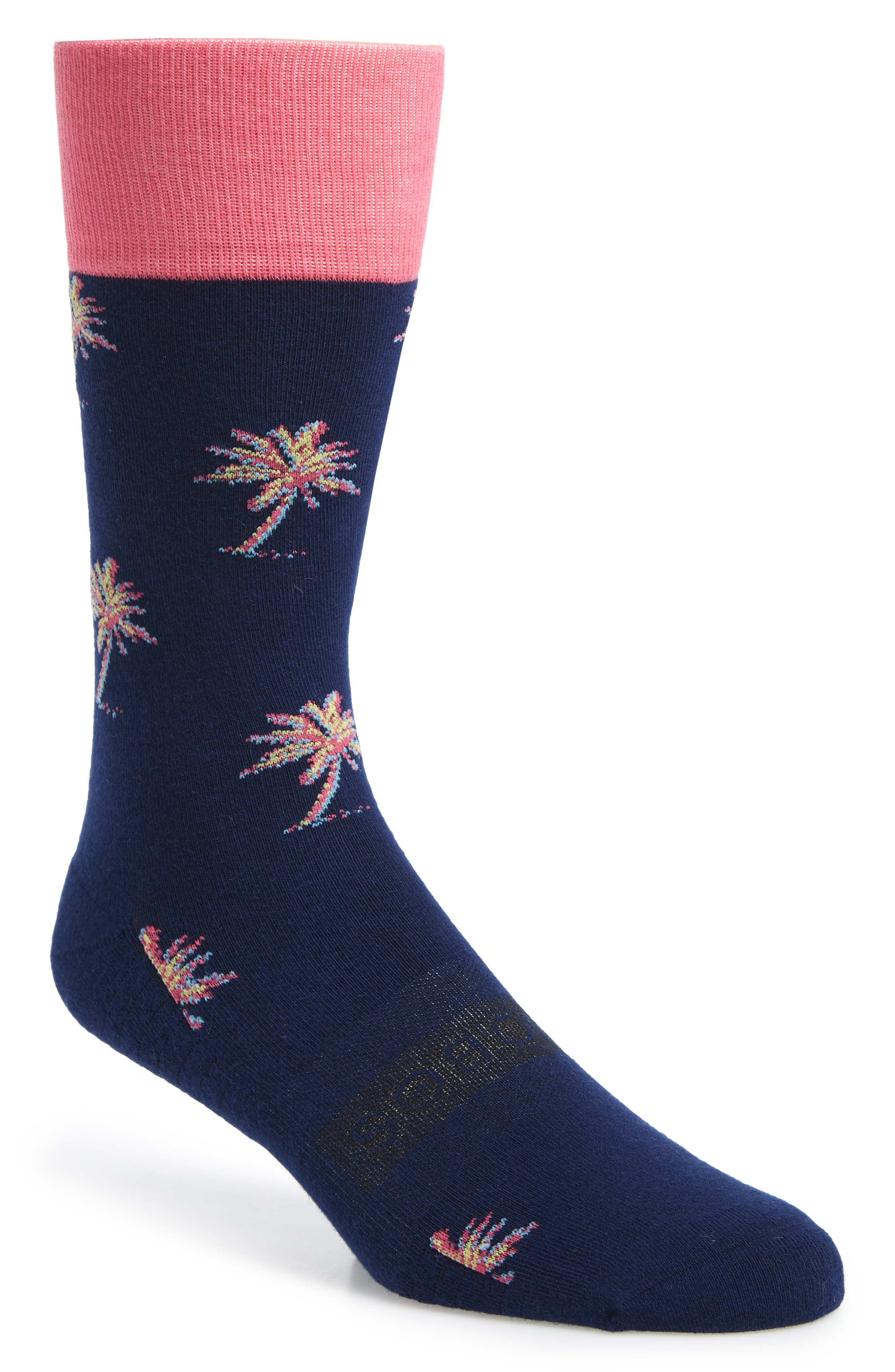 BONOBOS Palm Tree Socks, Main, color, POP PALM NAVY