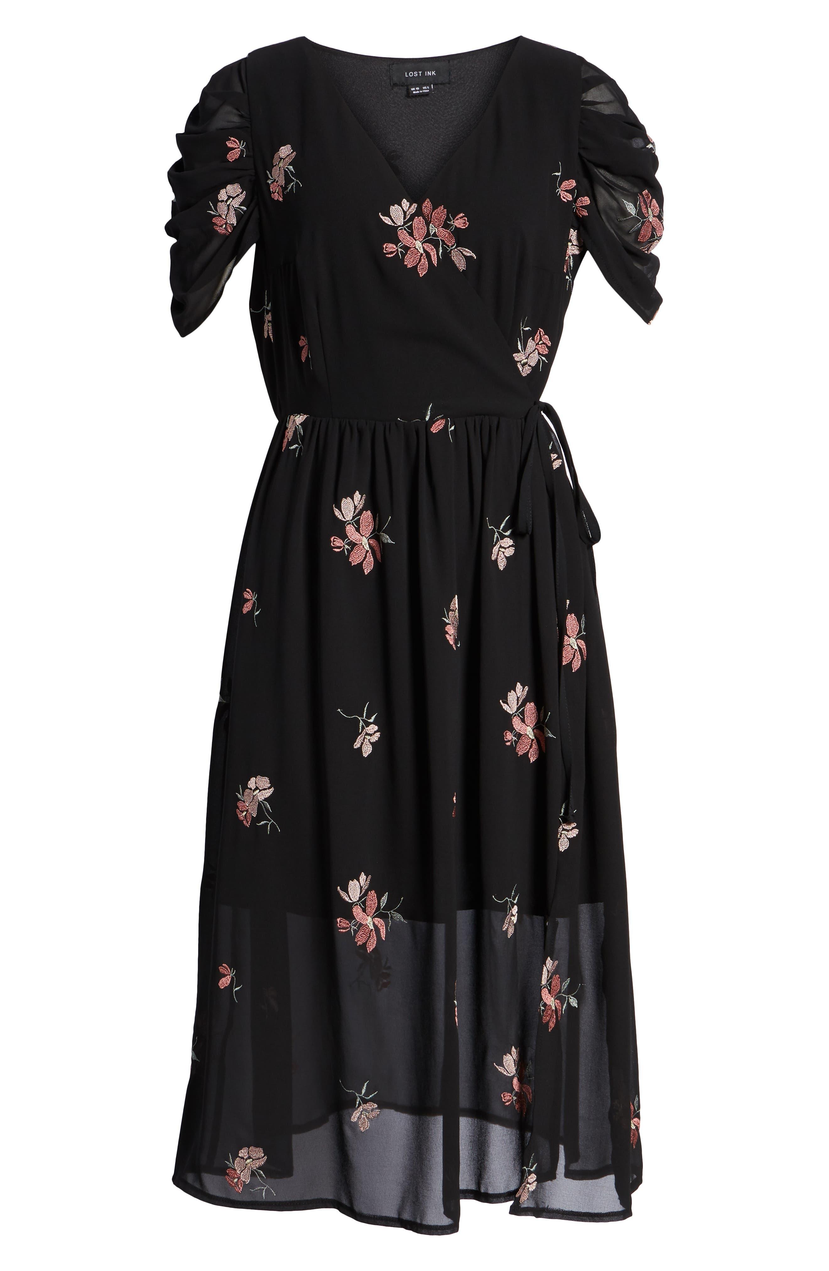 Floral Embroidered Wrap Midi Dress,                             Alternate thumbnail 7, color,                             BLACK