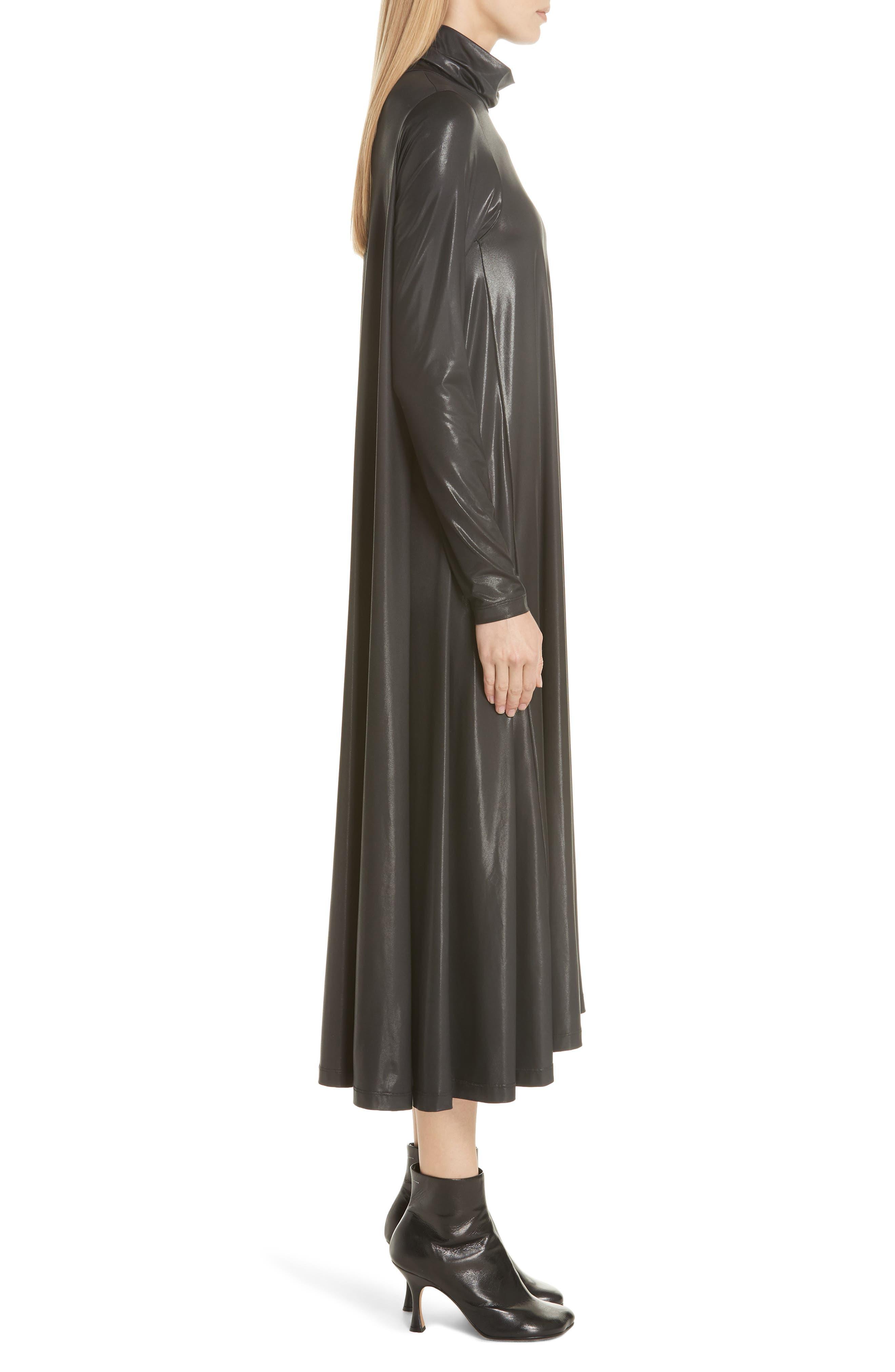 Coated Turtleneck Dress,                             Alternate thumbnail 3, color,                             BLACK