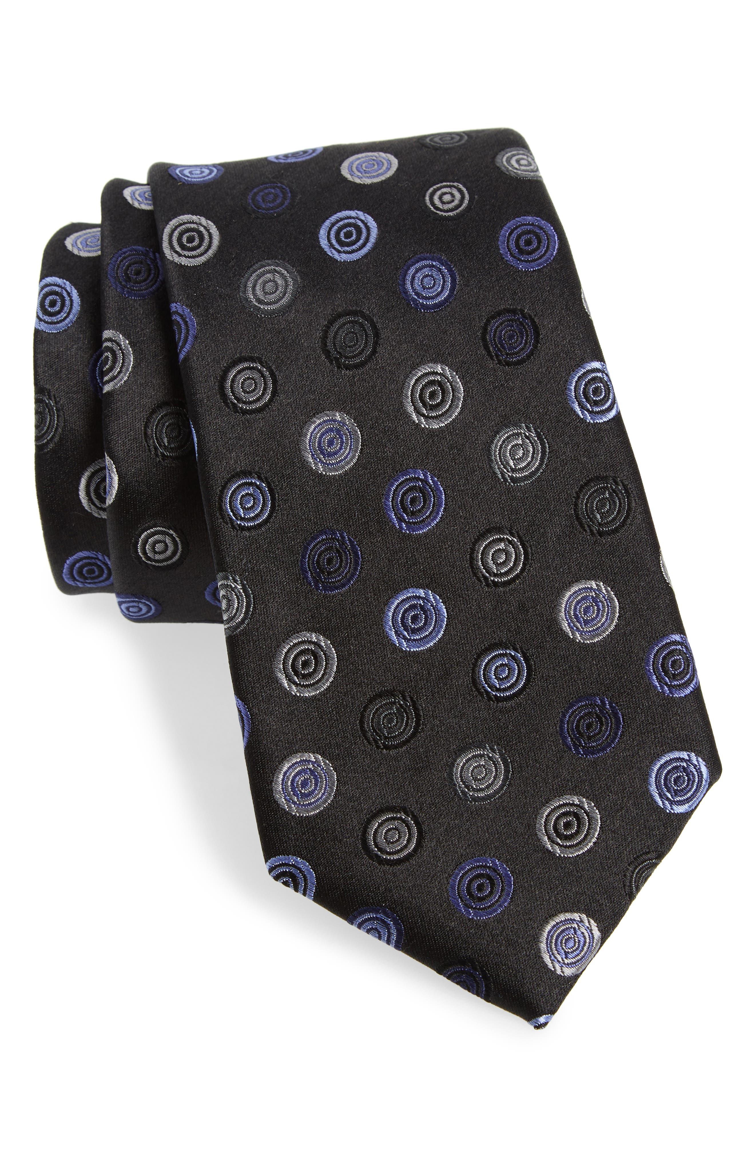 Santa Lucia Medallion Silk Tie,                         Main,                         color, 001