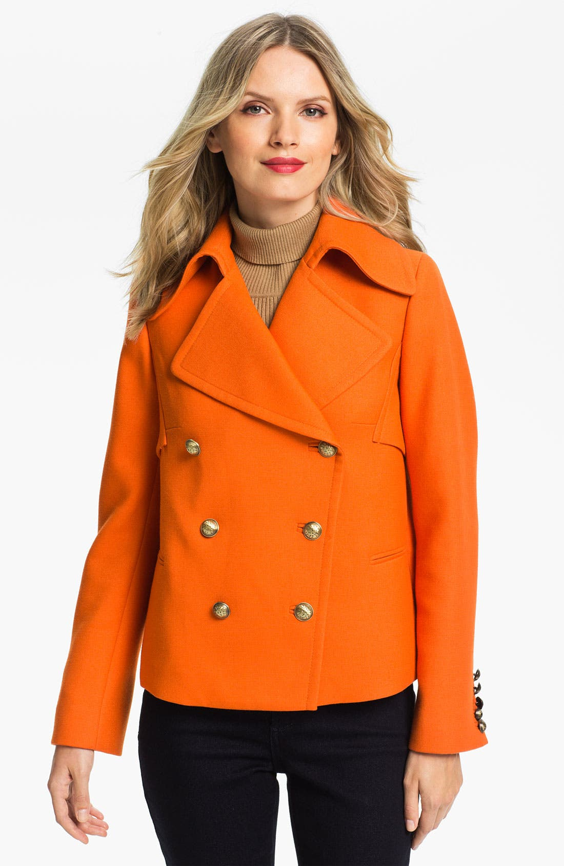 ANNE KLEIN Double Breasted Peacoat, Main, color, 810