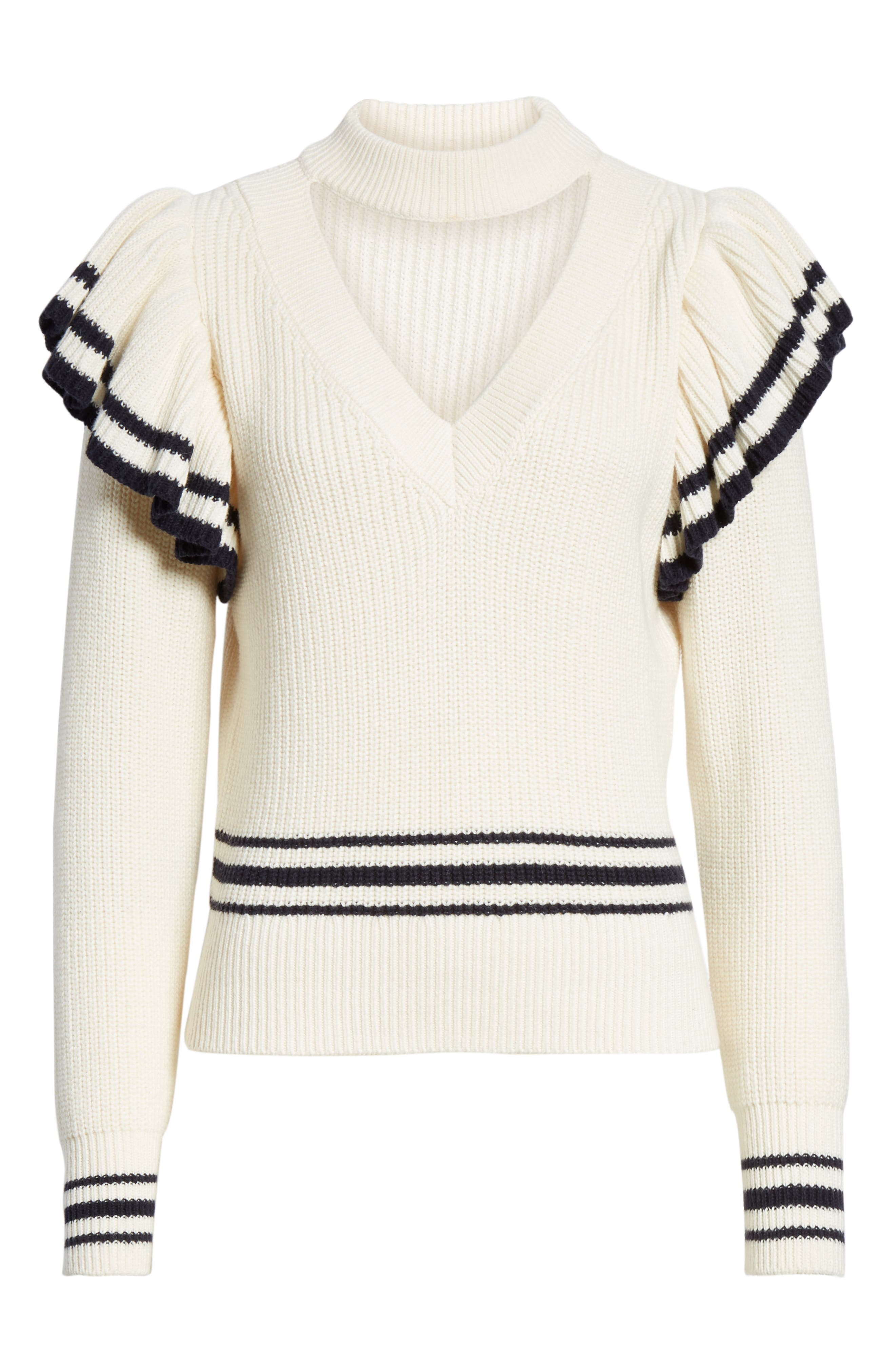 Stripe Ruffle Trim Sweater,                             Alternate thumbnail 6, color,                             IVORY-NAVY