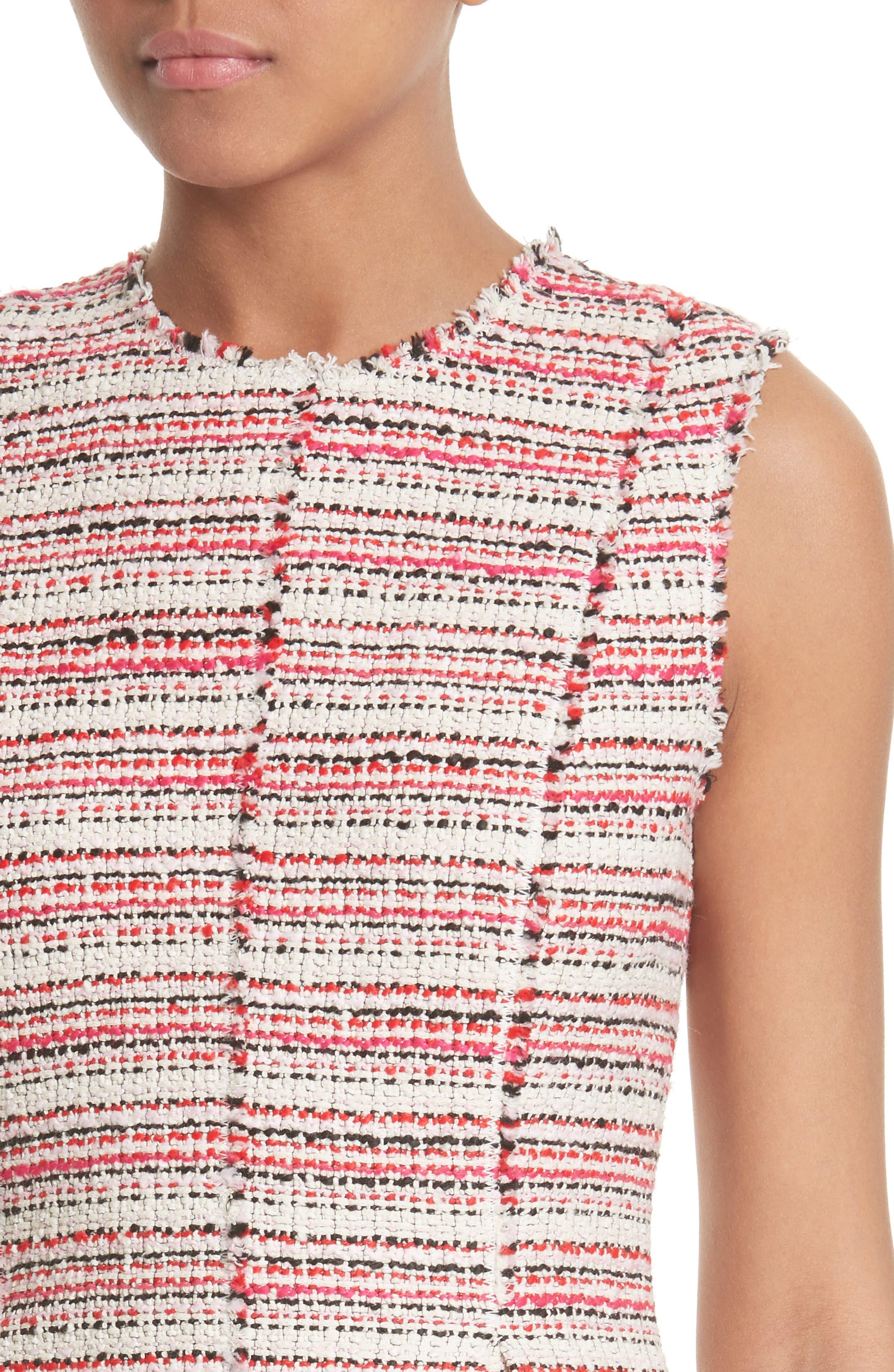 Optic Tweed Fit & Flare Dress,                             Alternate thumbnail 4, color,                             600