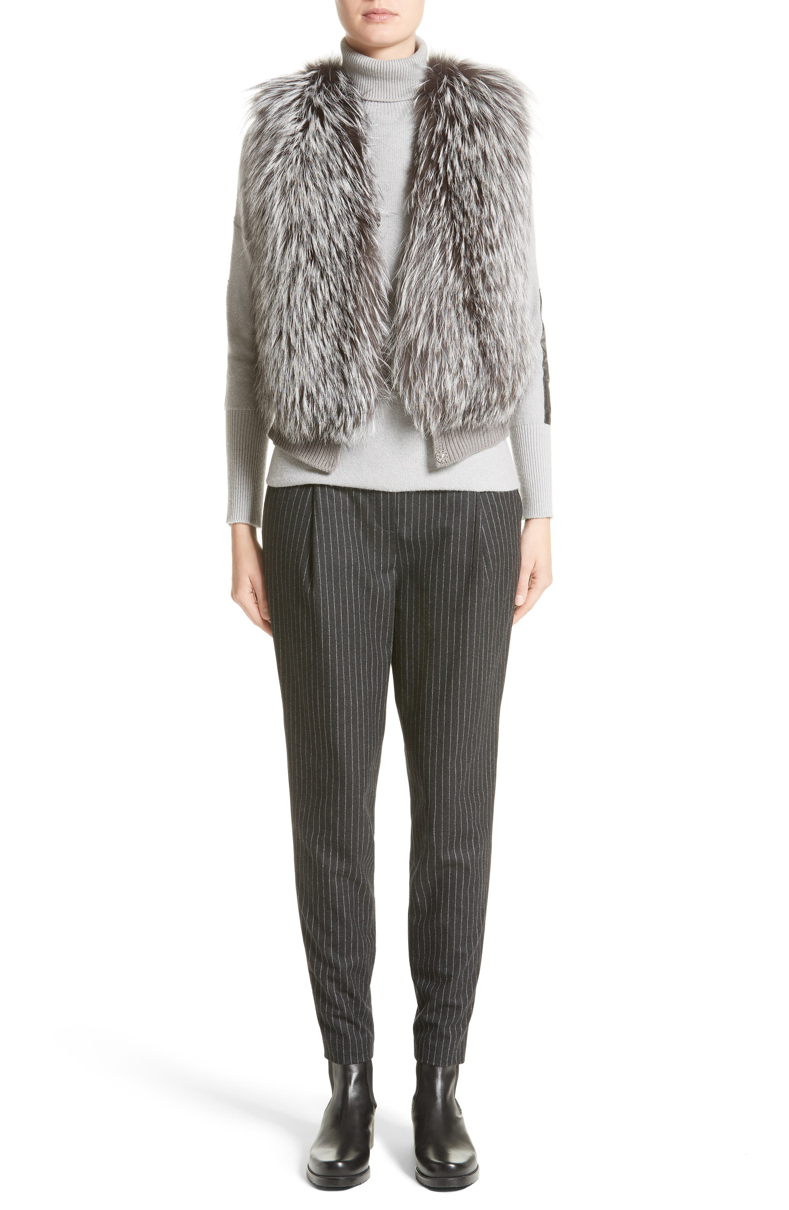 Pinstripe Wool Flannel Pants,                             Alternate thumbnail 6, color,                             021