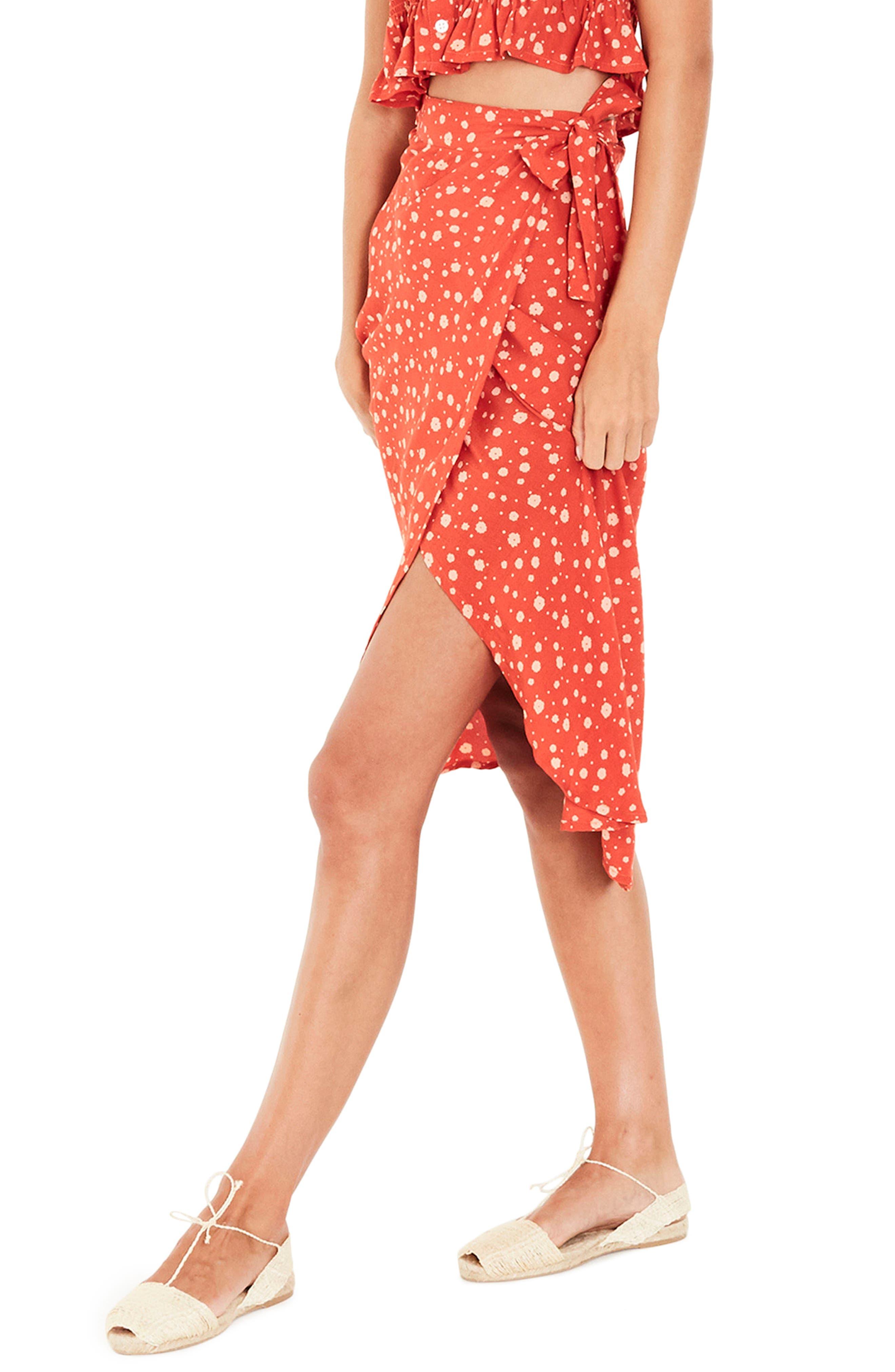 Linnie Wrap Skirt,                             Alternate thumbnail 3, color,                             CHERRY