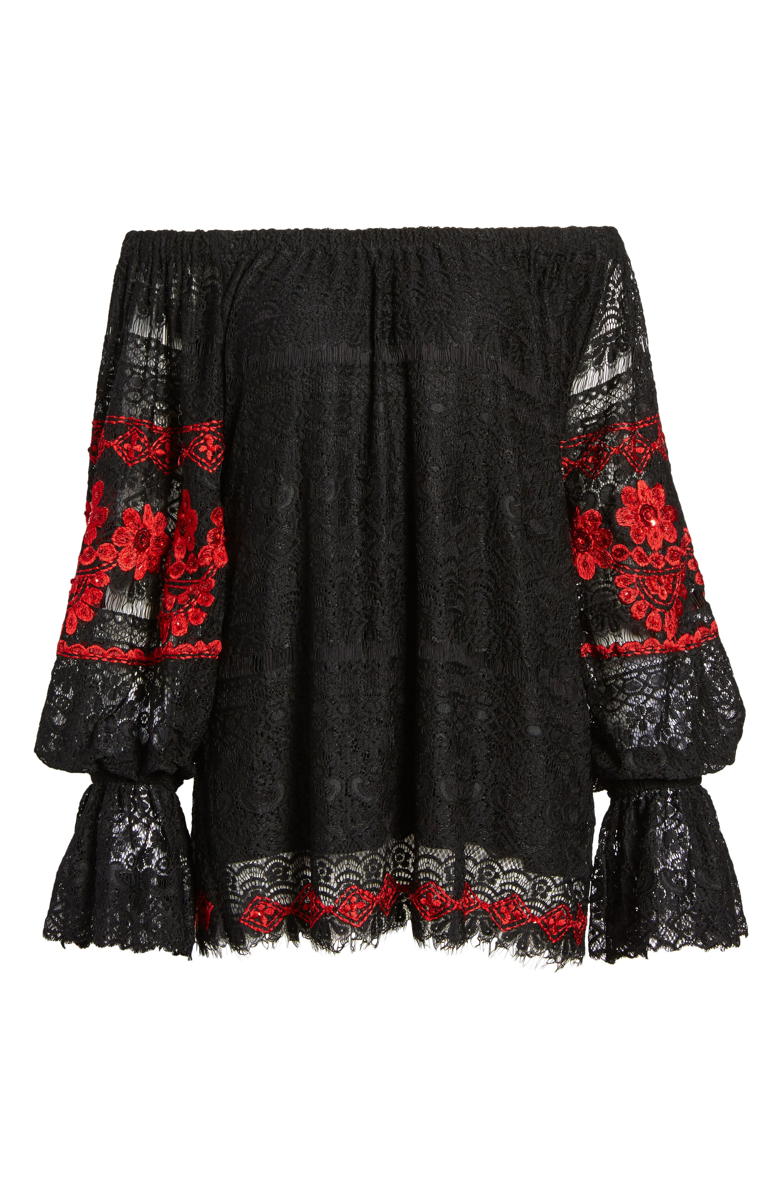 Clare Off the Shoulder Lace Top,                             Alternate thumbnail 6, color,                             001