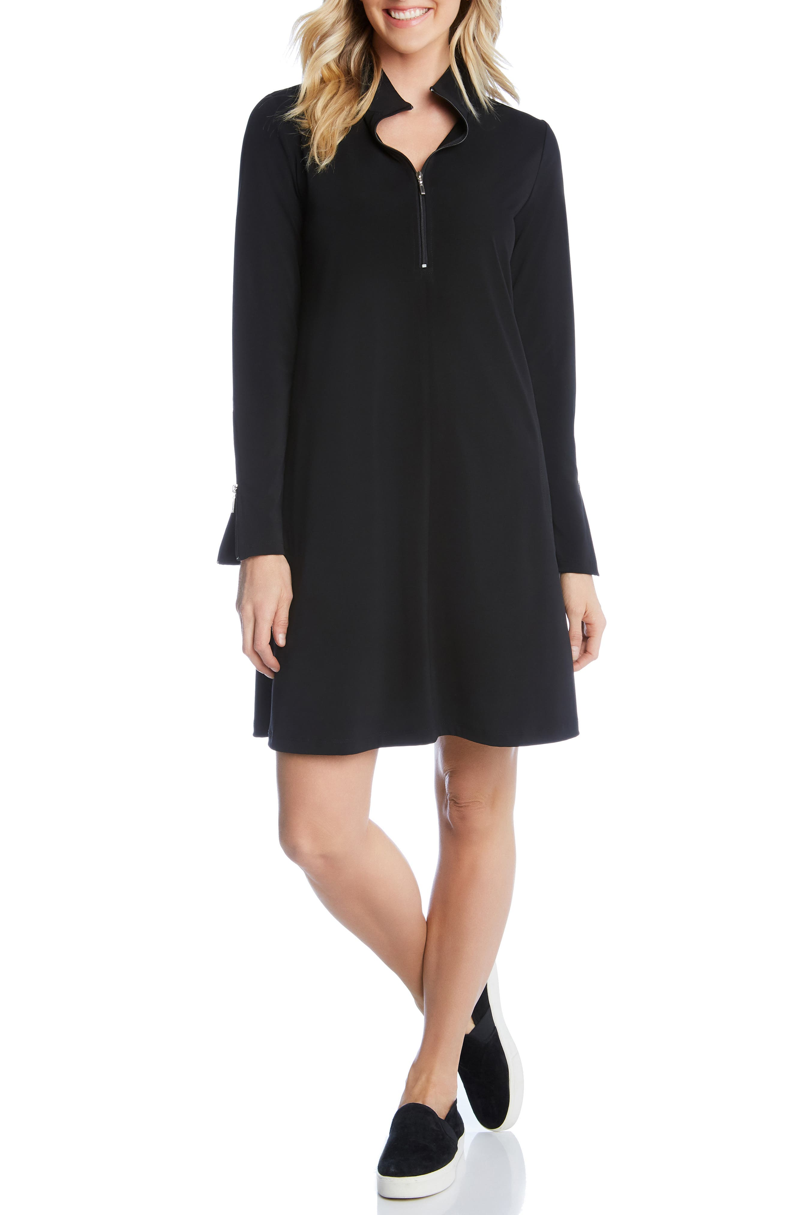 Karen Kane Quarter Zip A-Line Dress, Black
