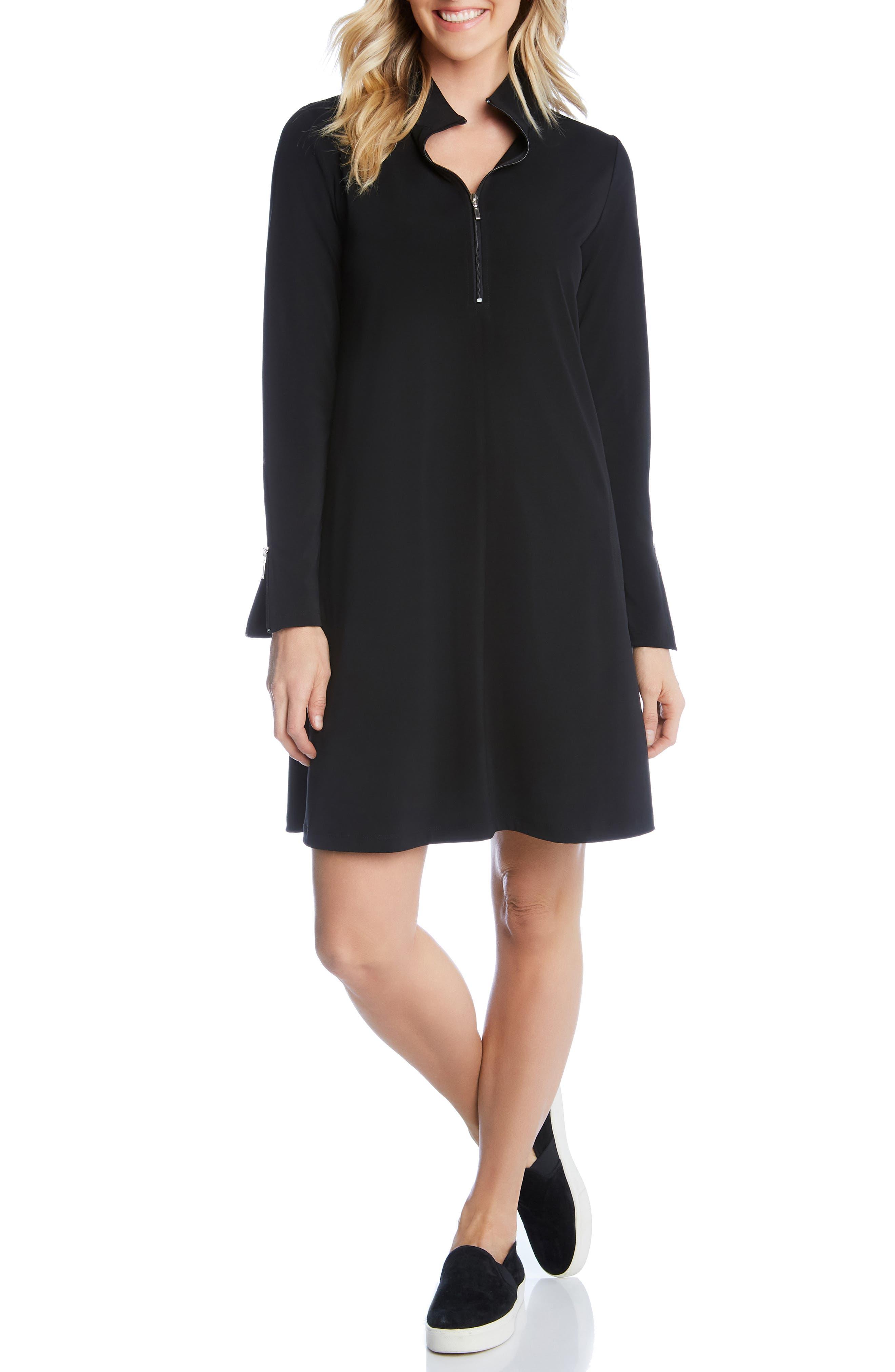 Quarter Zip A-Line Dress,                             Main thumbnail 1, color,                             BLACK