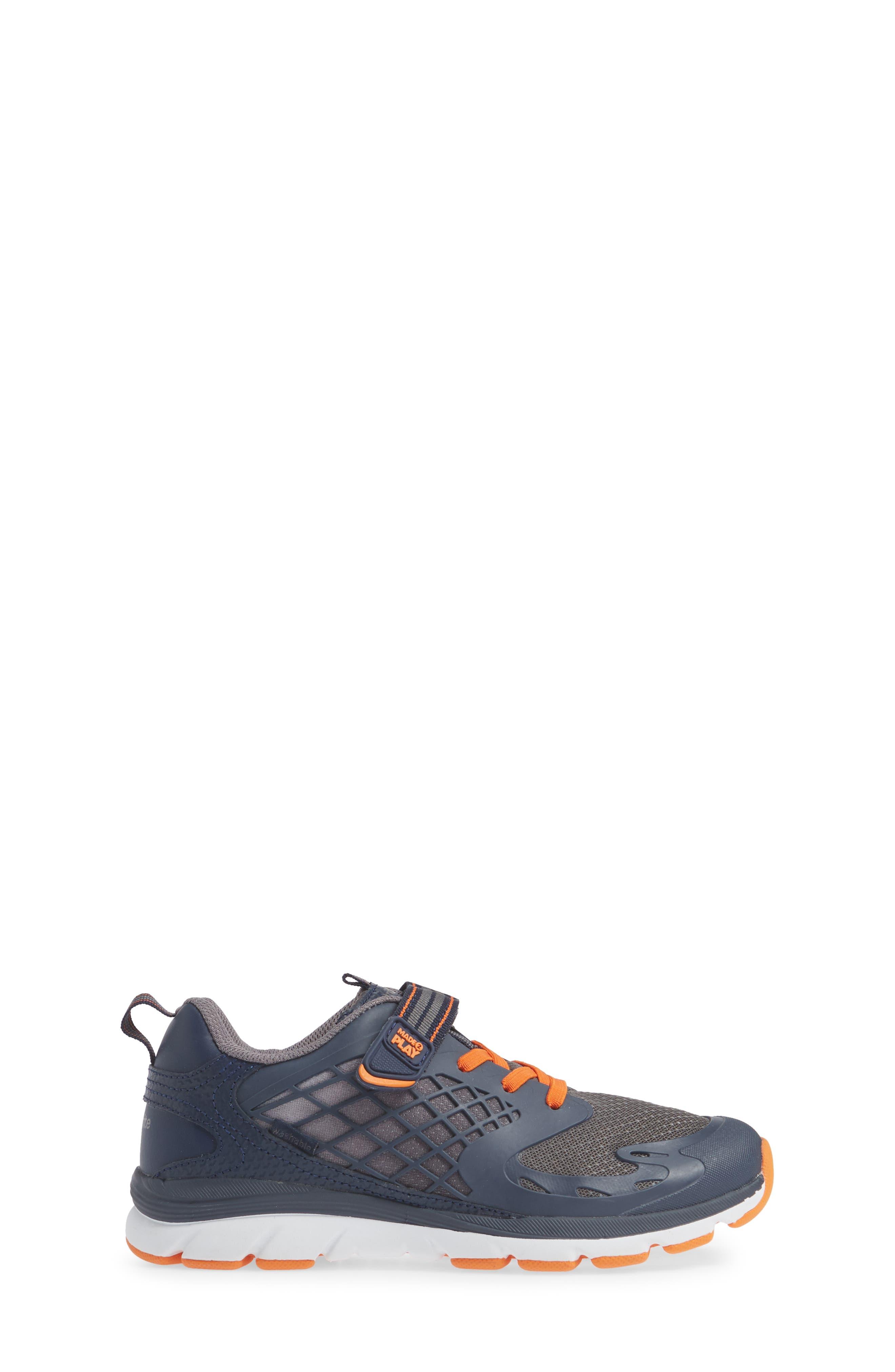 Made 2 Play Breccen Sneaker,                             Alternate thumbnail 3, color,                             NAVY/ ORANGE