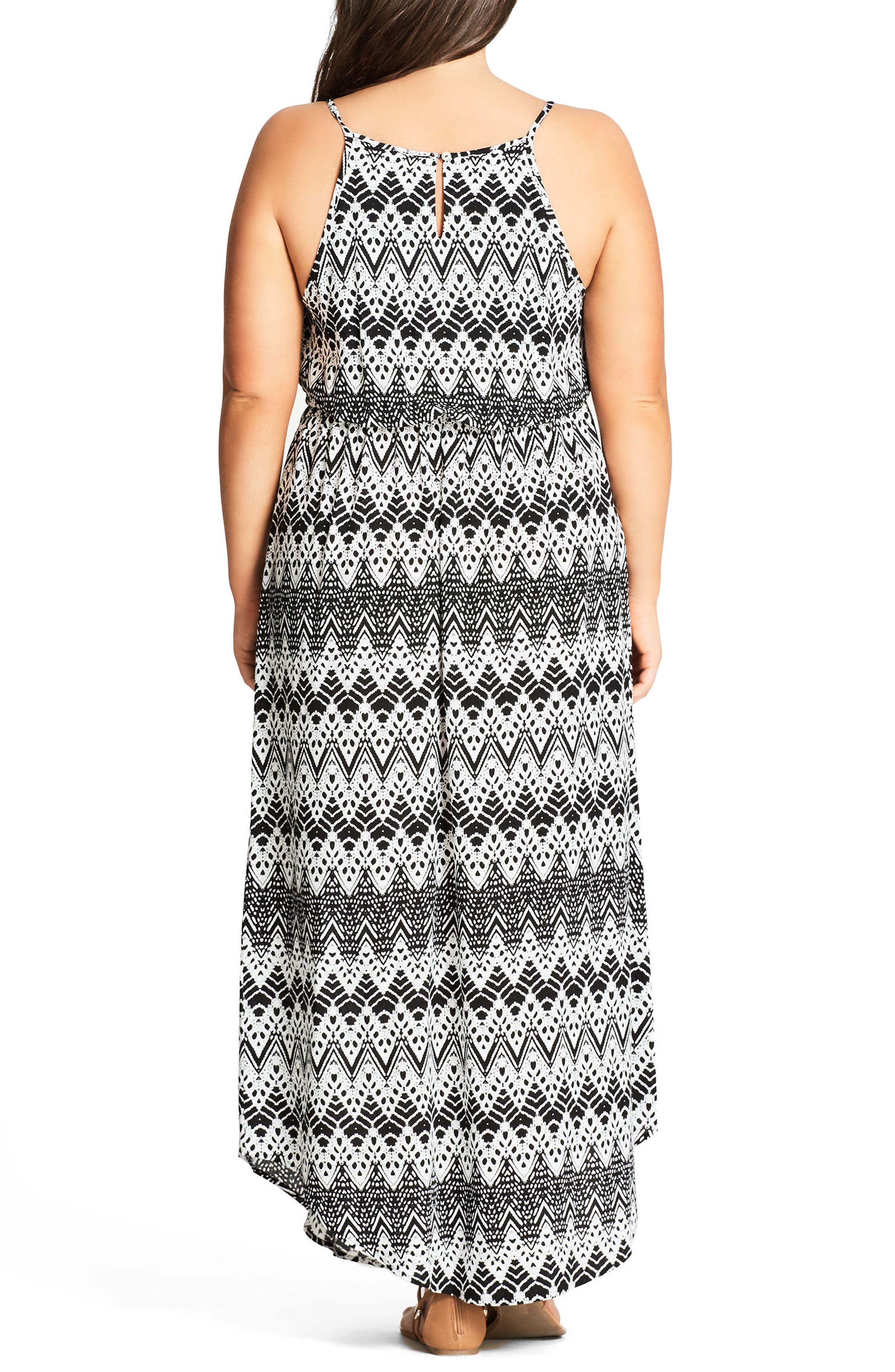 Mono Print Maxi Dress,                             Alternate thumbnail 3, color,