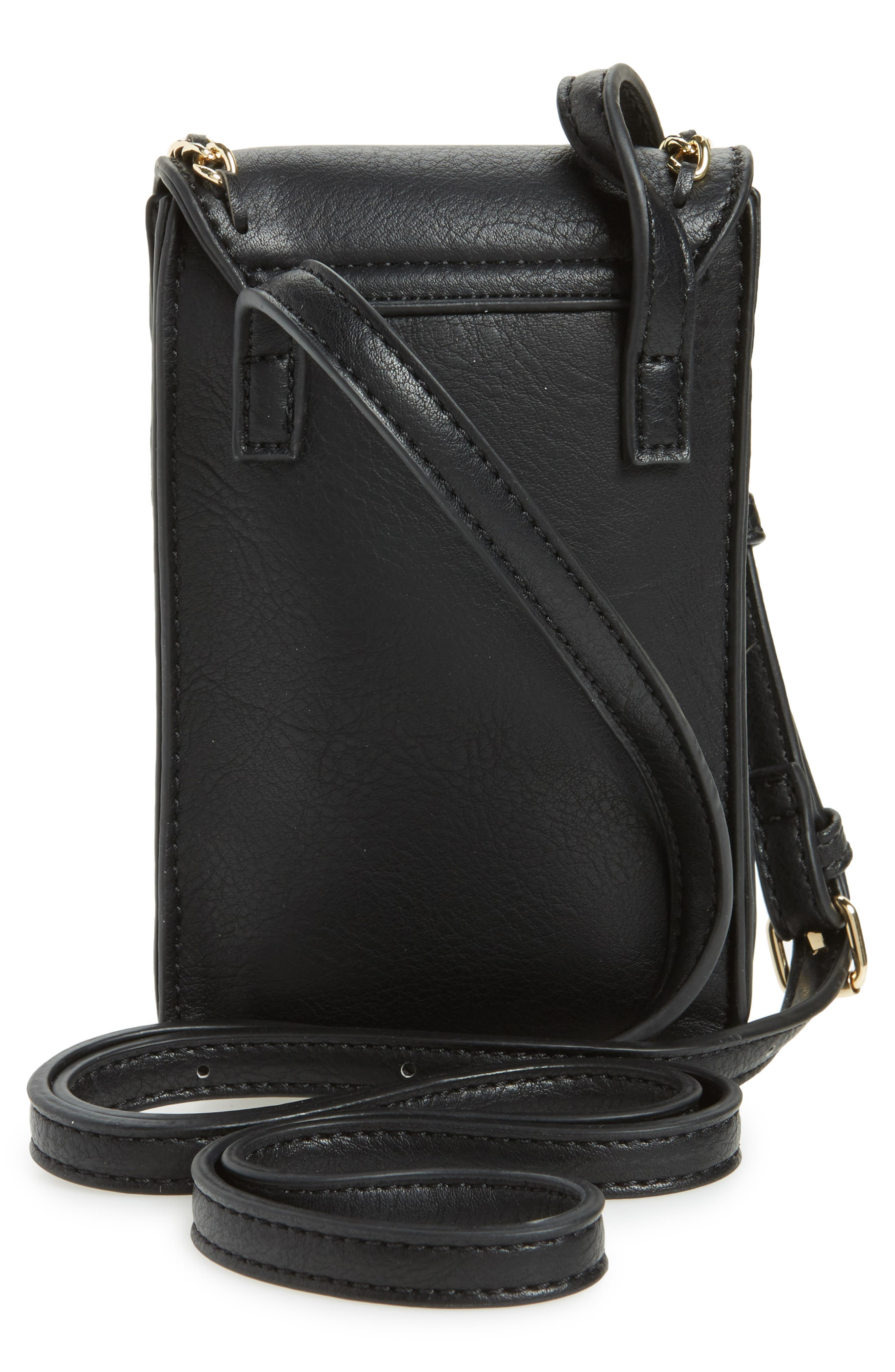 Chain Faux Leather Phone Crossbody Bag,                             Alternate thumbnail 3, color,