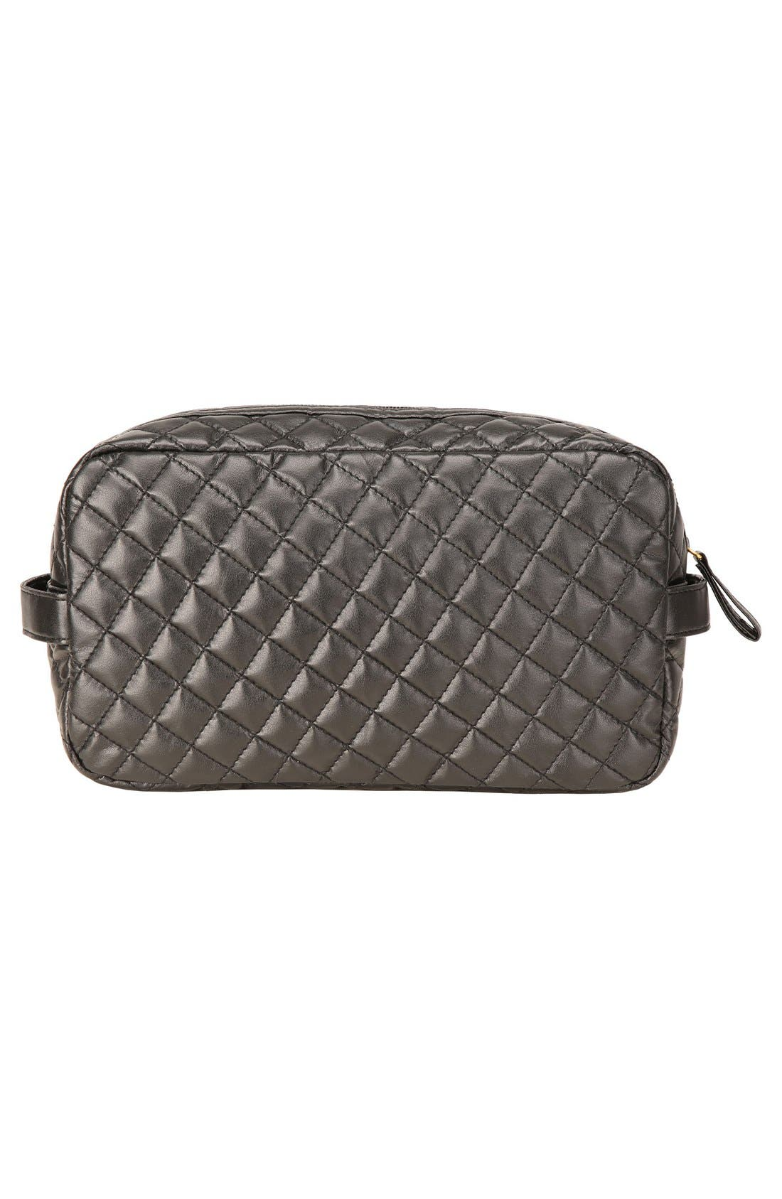 'Viveca' Quilted Black Cosmetics Case,                             Alternate thumbnail 5, color,                             000