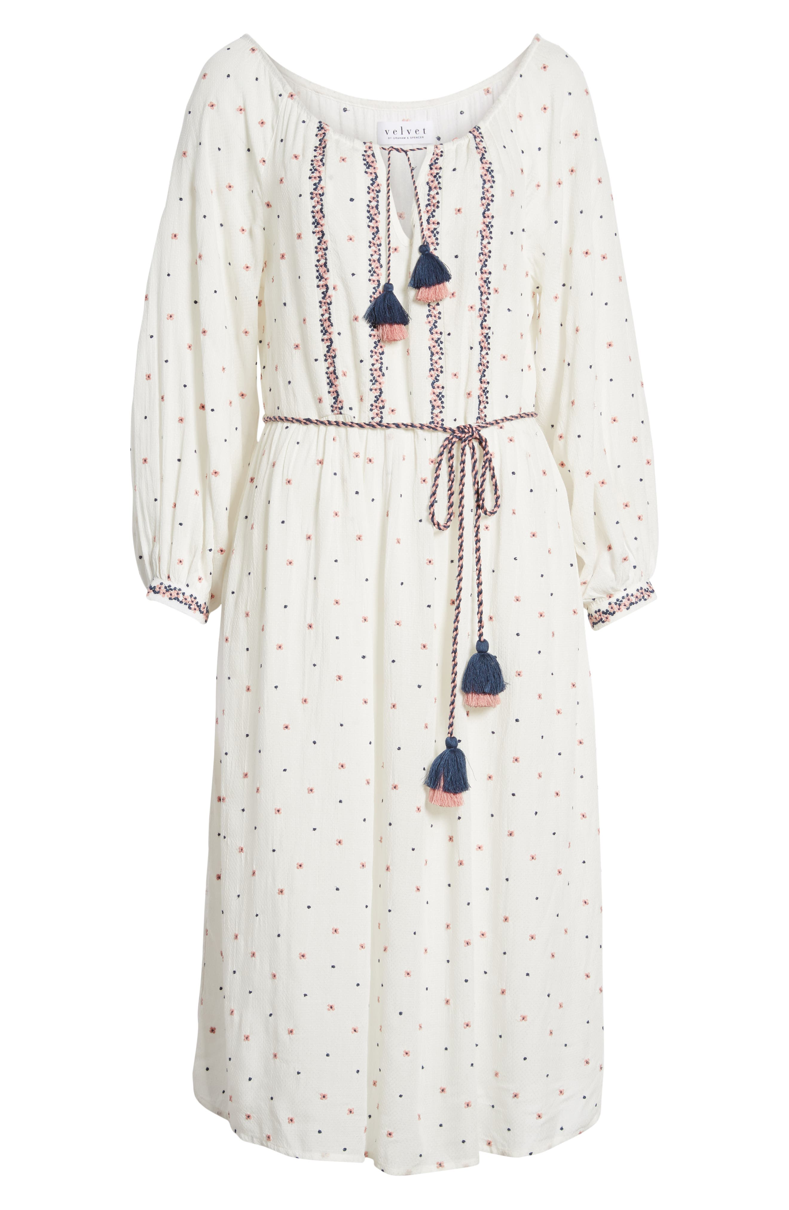 Embroidered Tassel Tie A-Line Dress,                             Alternate thumbnail 7, color,                             906