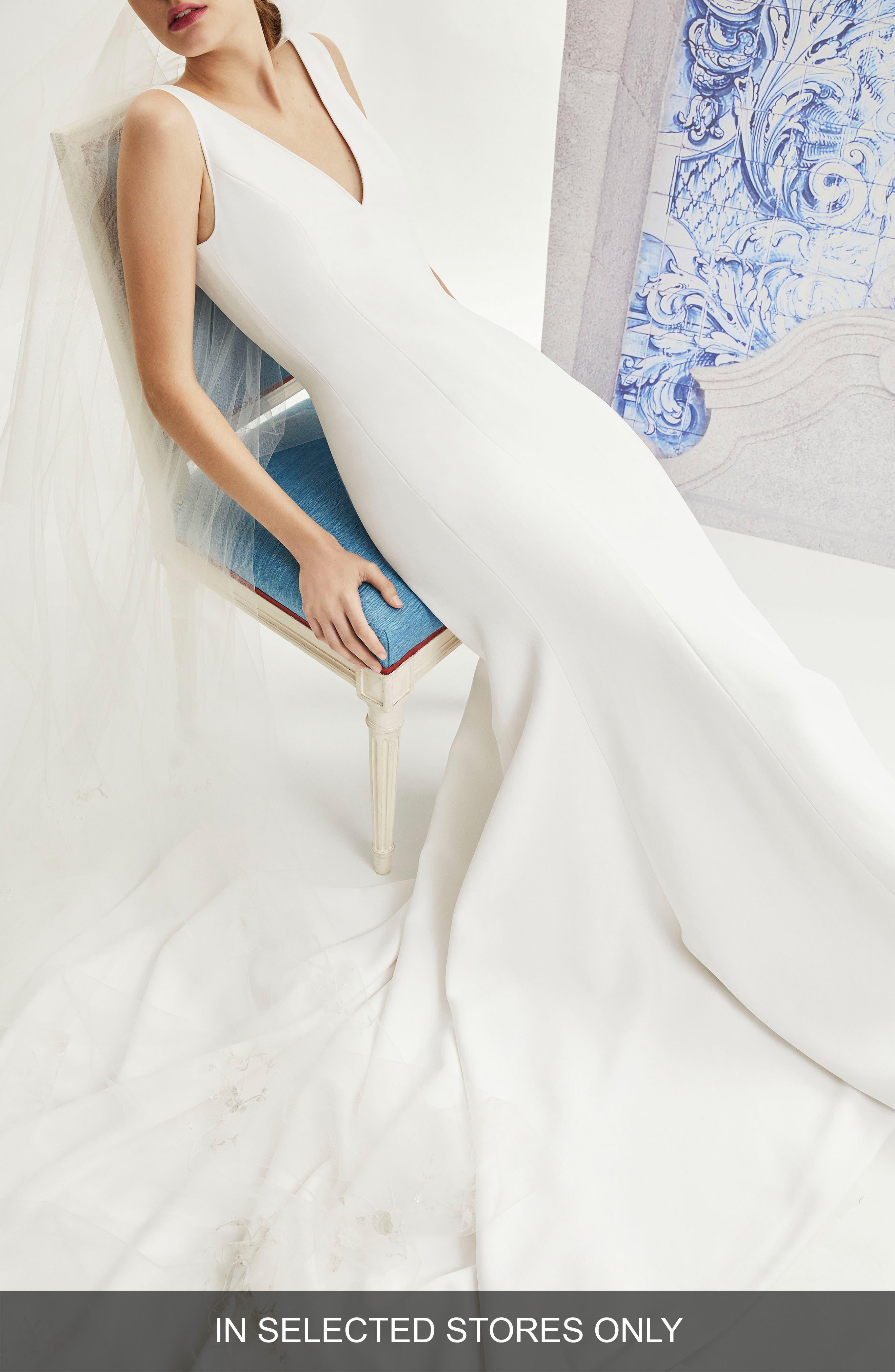 Ivy V-Neck Crepe Wedding Dress in White