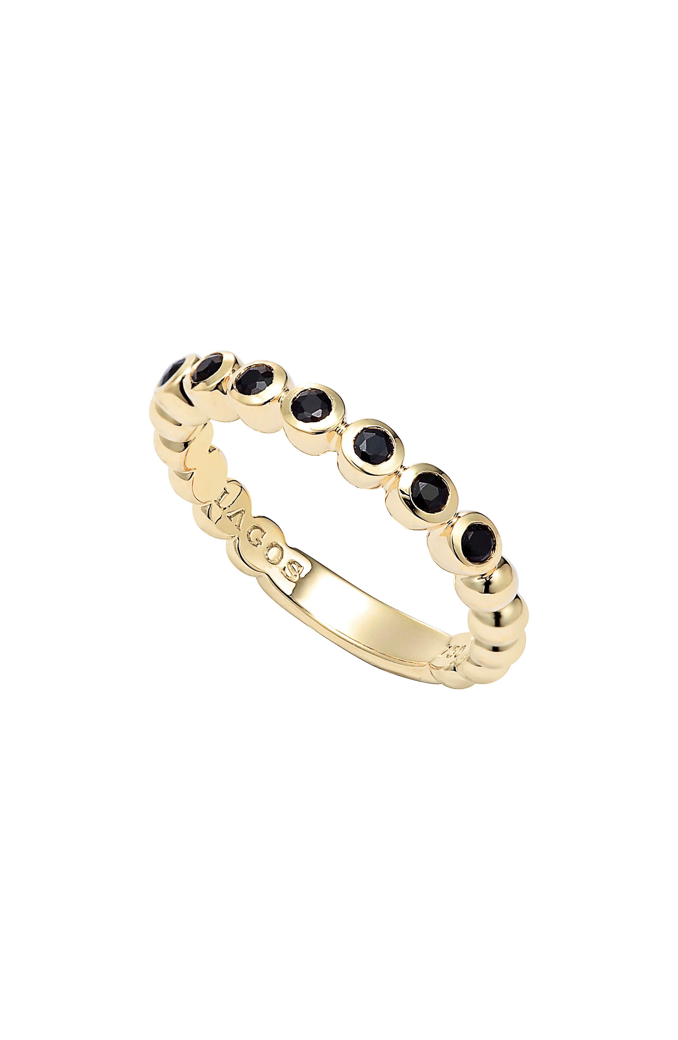 Covet Stone Caviar Stack Ring,                             Alternate thumbnail 2, color,                             GOLD/ BLACK SAPPHIRE