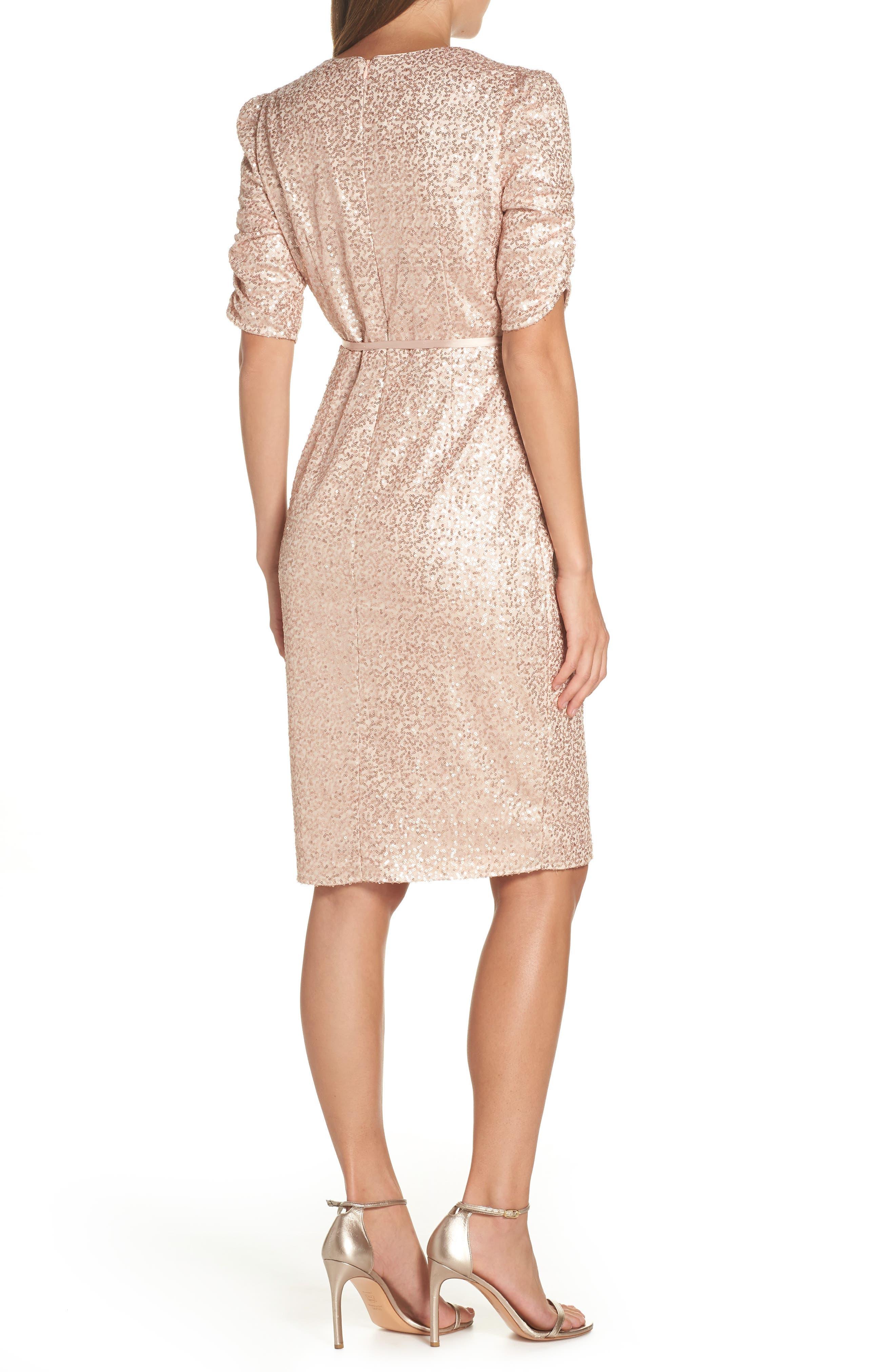 Sequin Faux Wrap Dress,                             Alternate thumbnail 2, color,                             NUDE