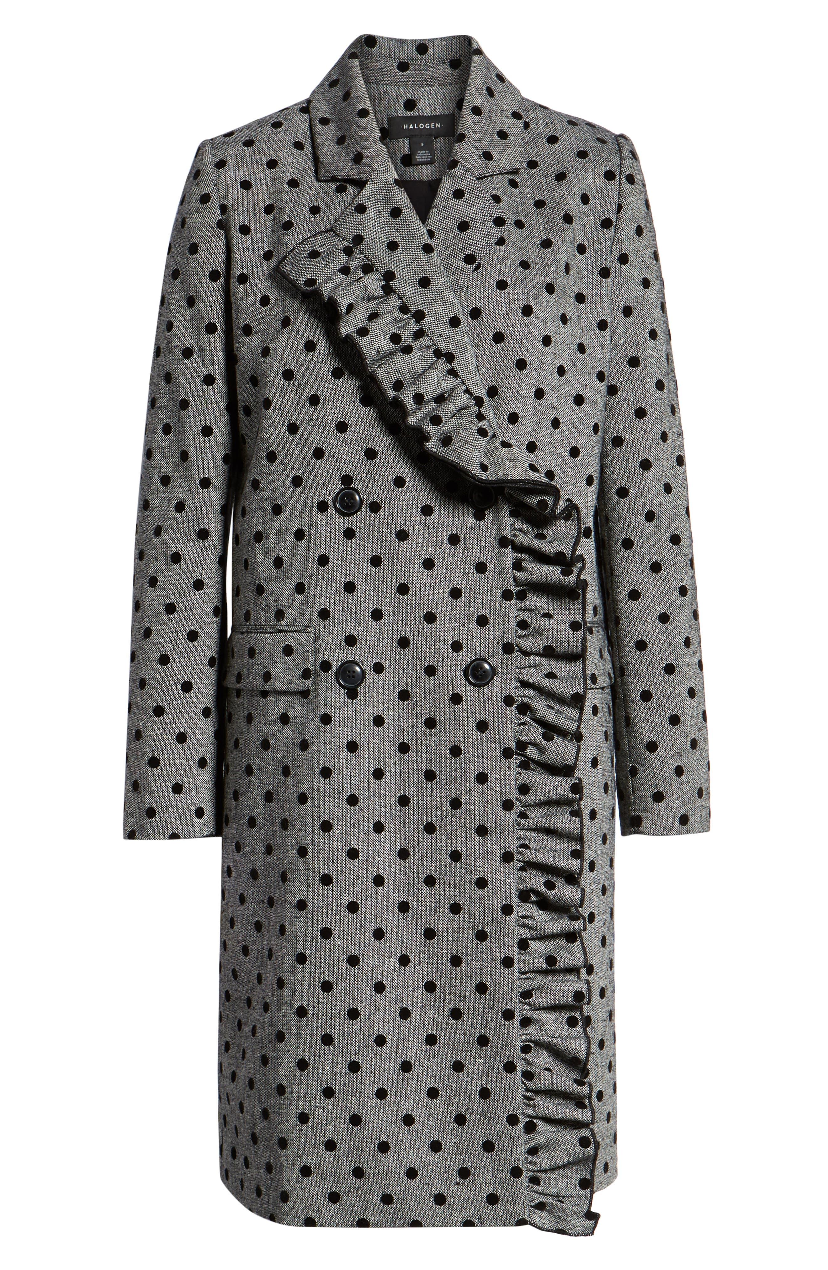 Flocked Dot Coat,                             Alternate thumbnail 6, color,                             GREY- BLACK DOT