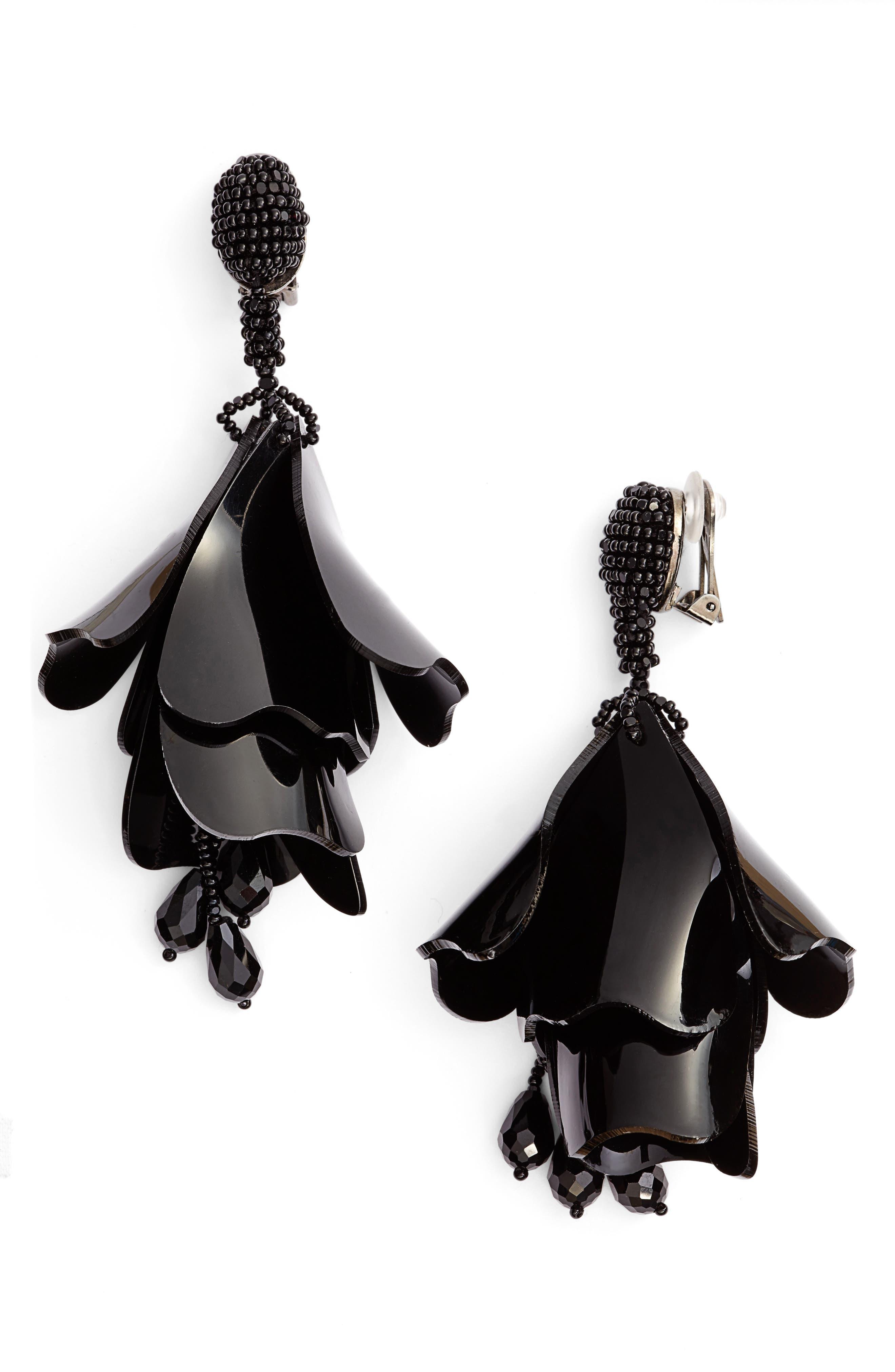 Large Impatiens Flower Clip Earrings,                         Main,                         color, 002