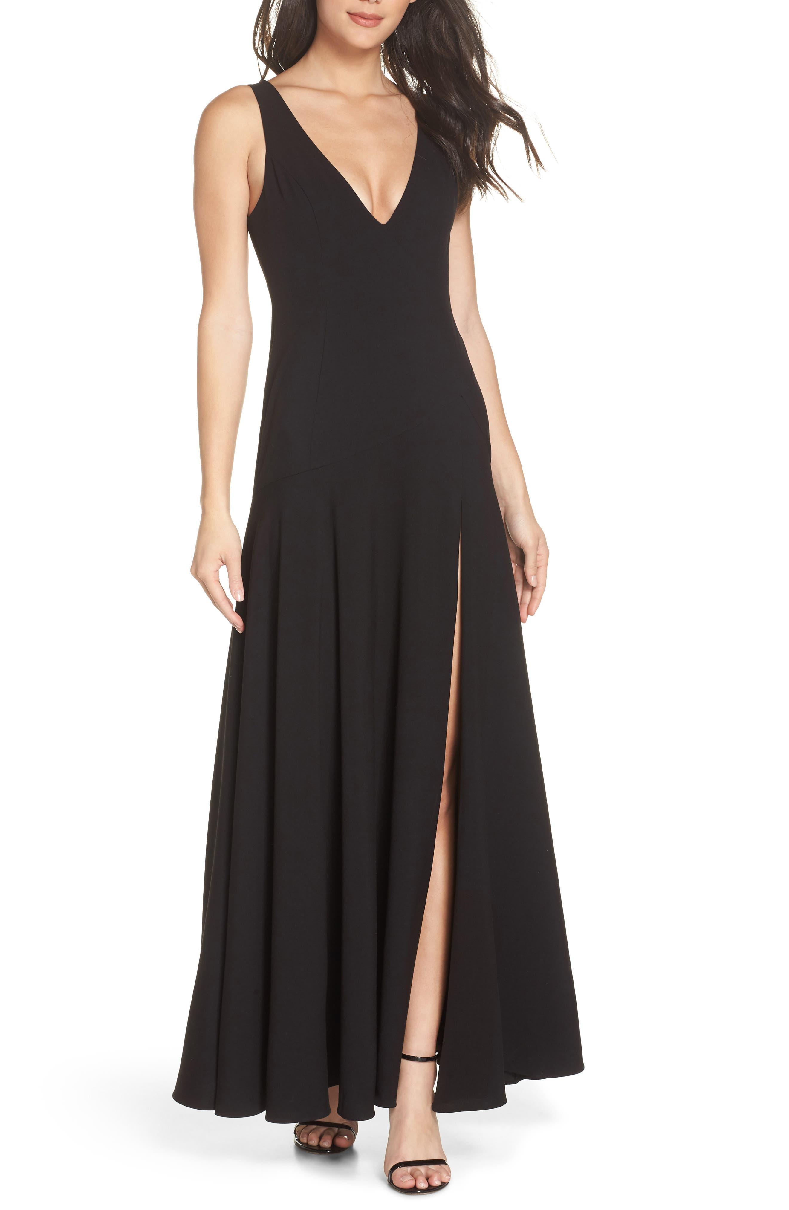 Fame & Partners The Hazel Front Slit Gown,                         Main,                         color, BLACK