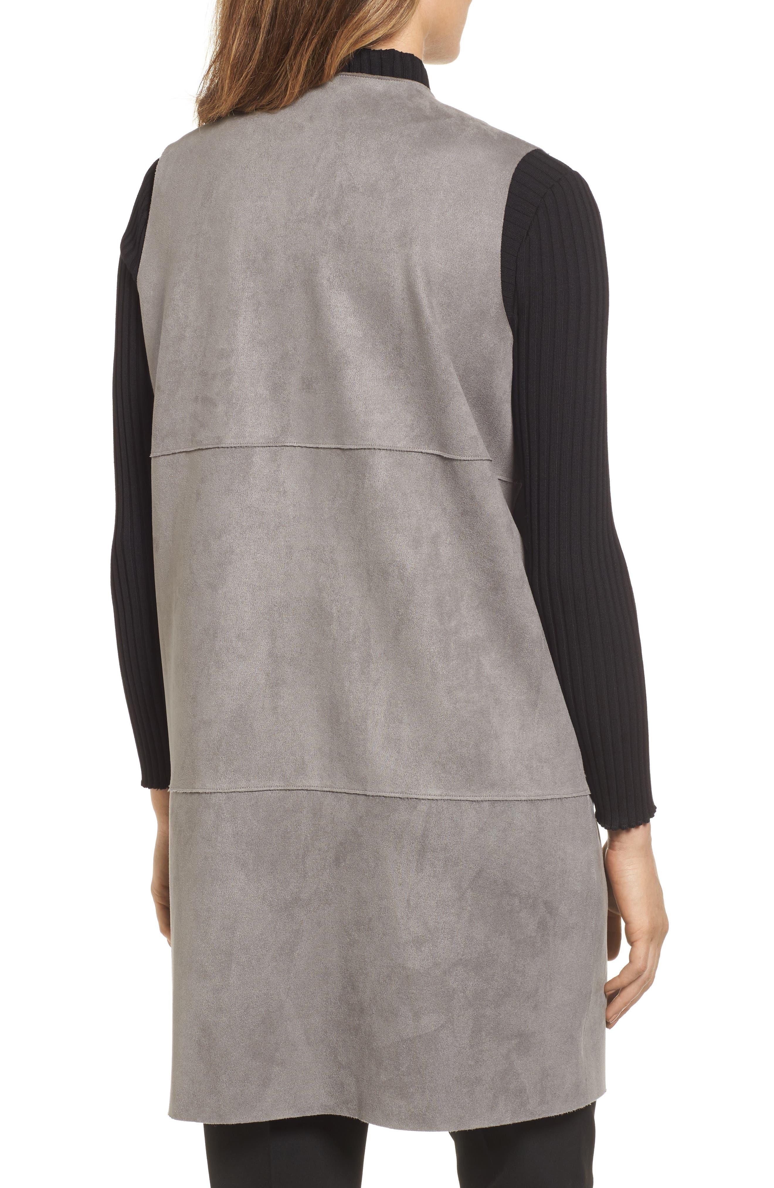 Asymmetrical Faux Suede Vest,                             Alternate thumbnail 2, color,