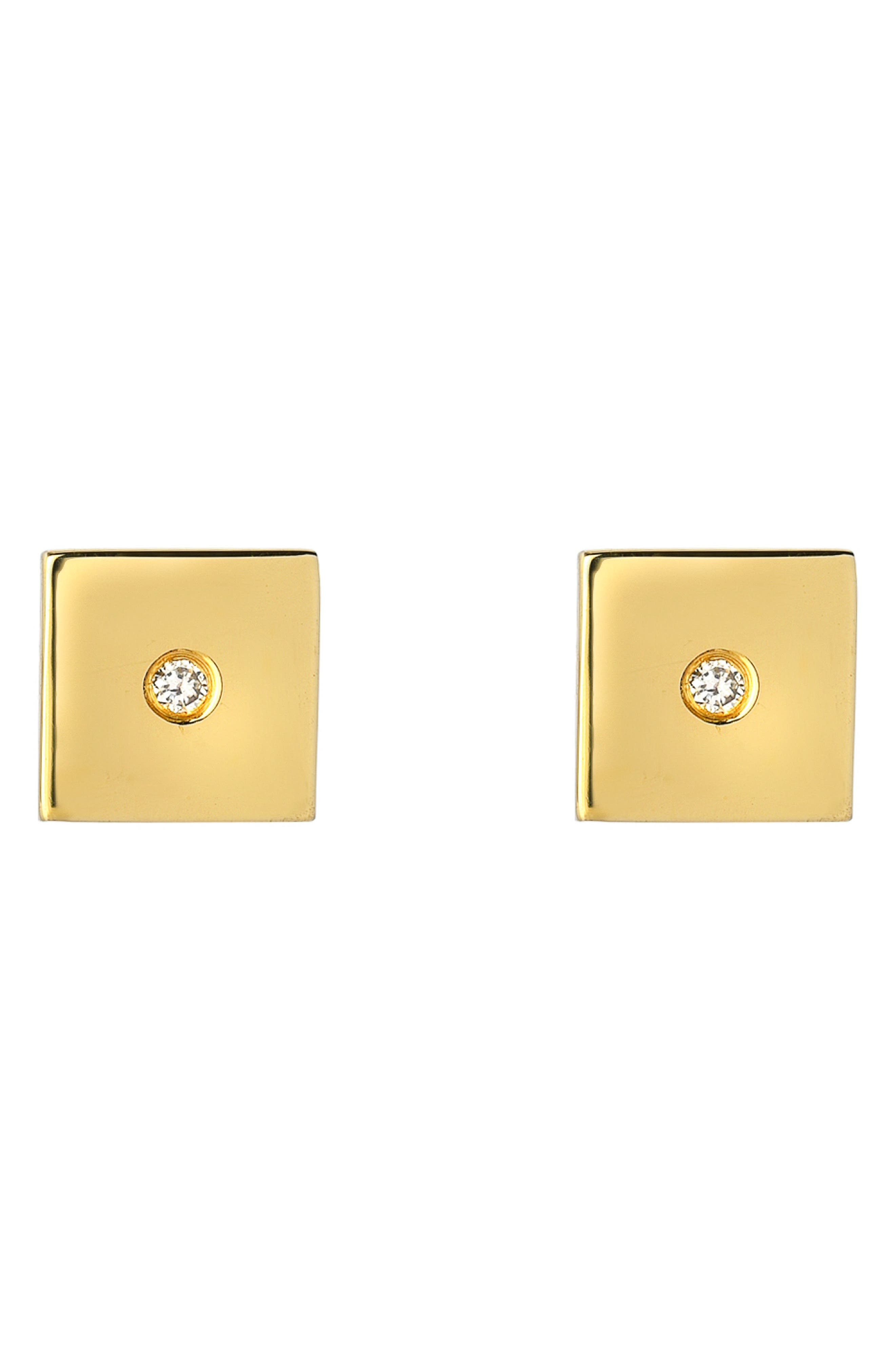 Forever Collection - Square Diamond Stud Earrings, Main, color, YELLOW GOLD