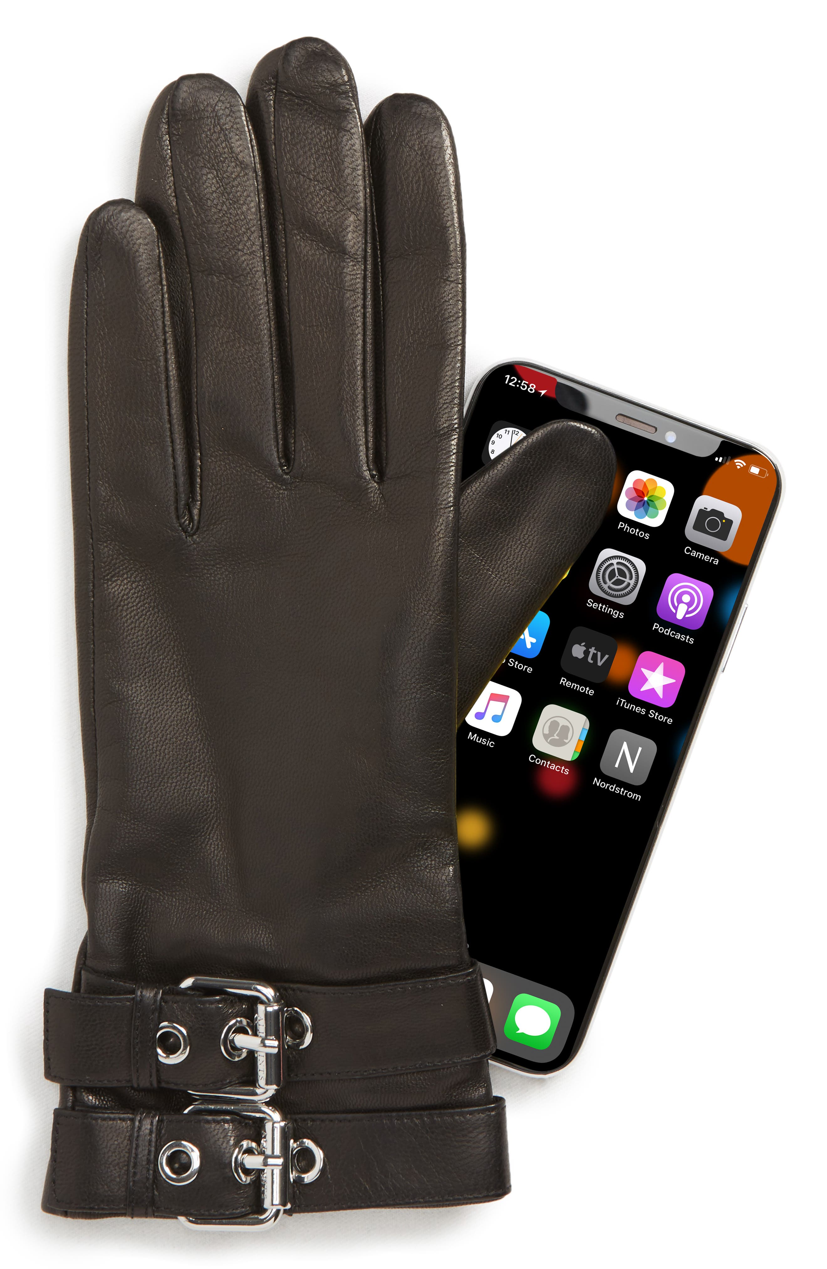 Buckled Leather Gloves,                             Alternate thumbnail 2, color,                             BLACK/ SHINY NICKEL