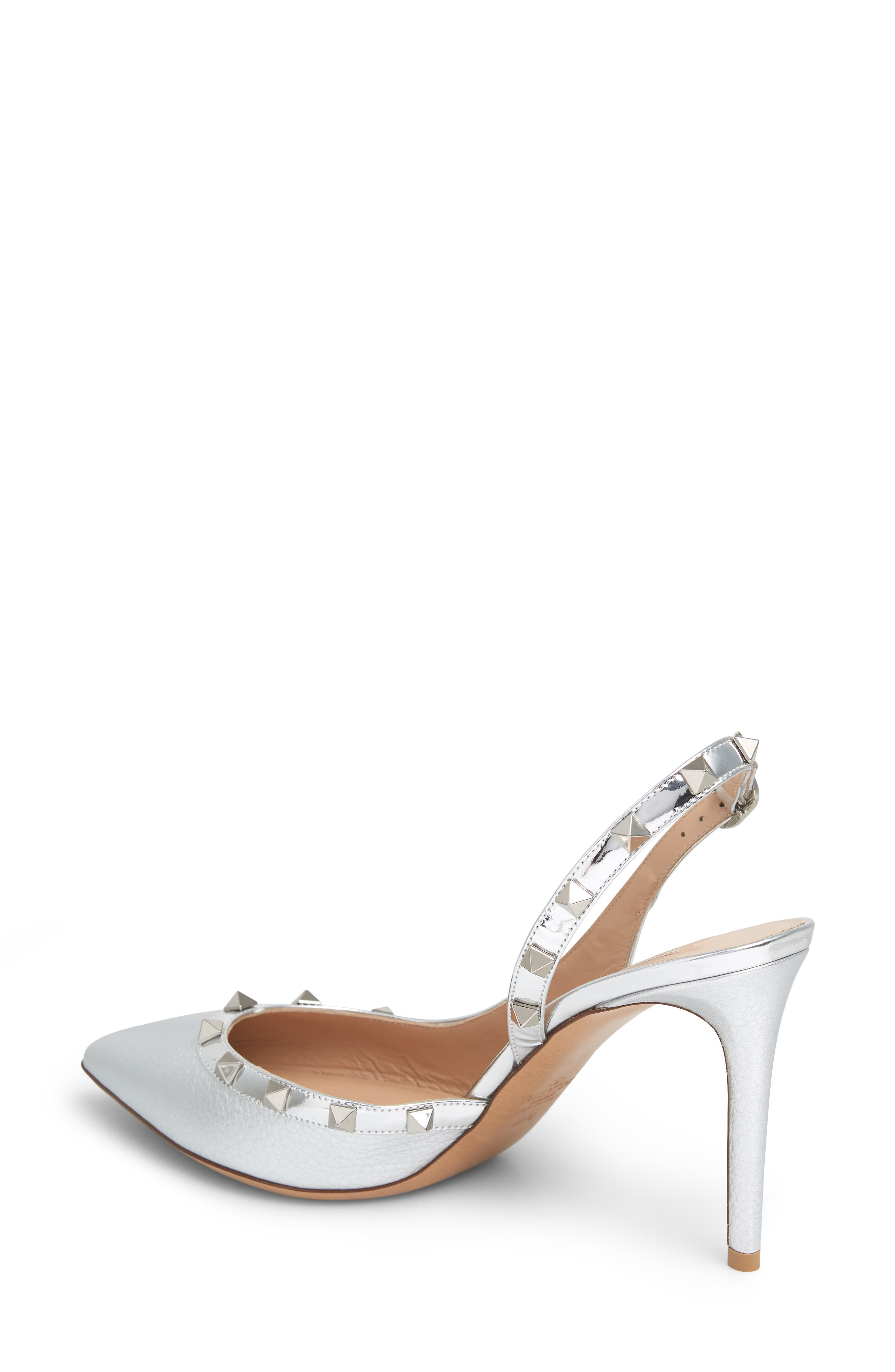 Rockstud Slingback Pump,                             Alternate thumbnail 2, color,                             SILVER