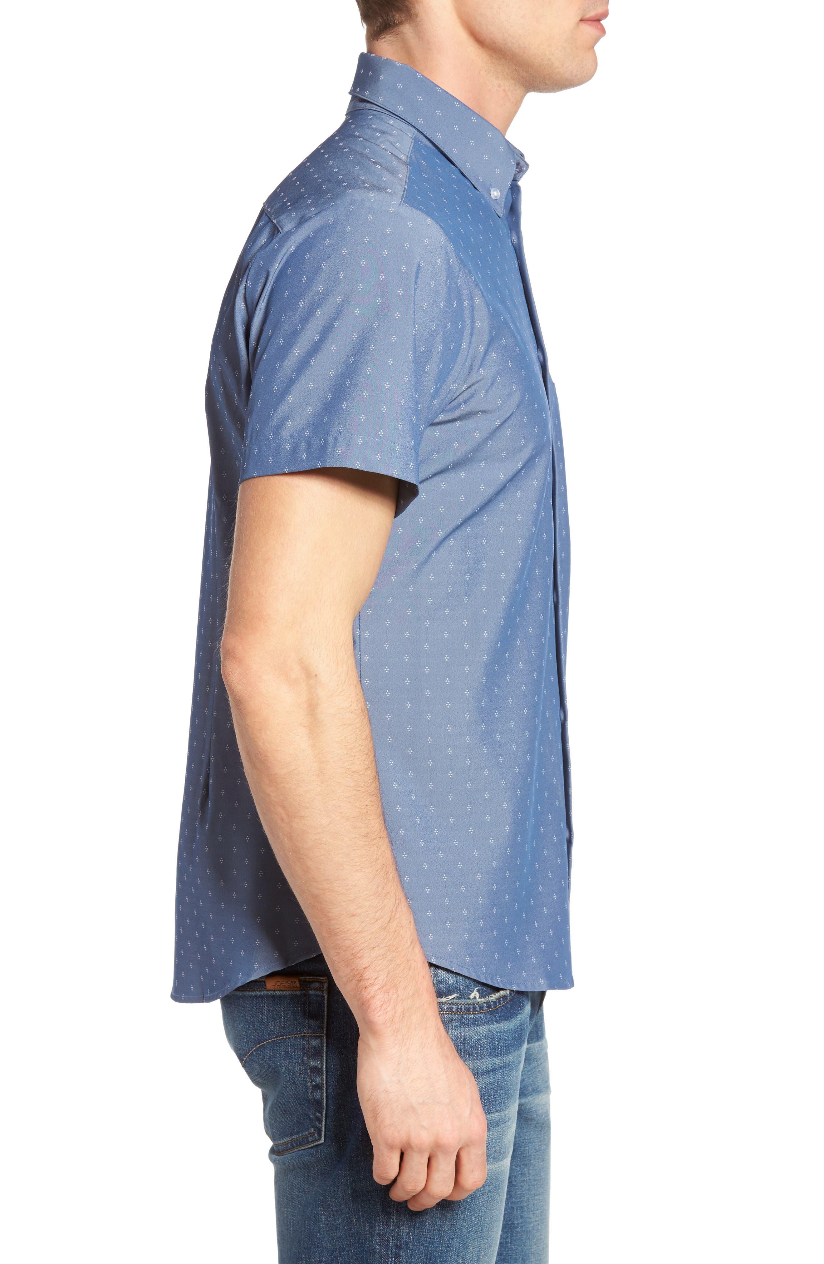 Kingston Poseidon Slim Fit Print Performance Sport Shirt,                             Alternate thumbnail 3, color,                             400