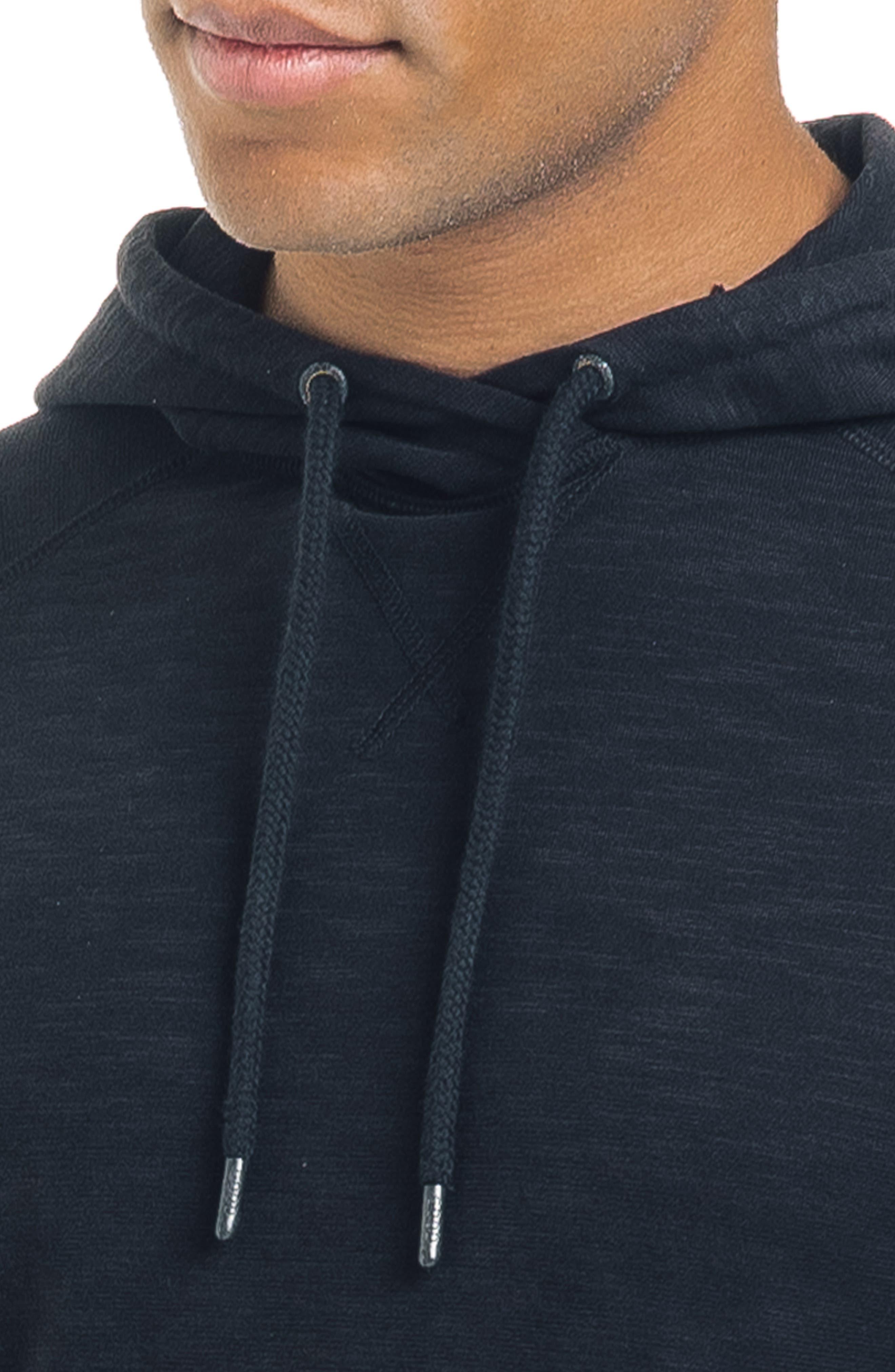Long Sleeve Slim Fit Slub Hoodie,                             Alternate thumbnail 4, color,                             BLACK